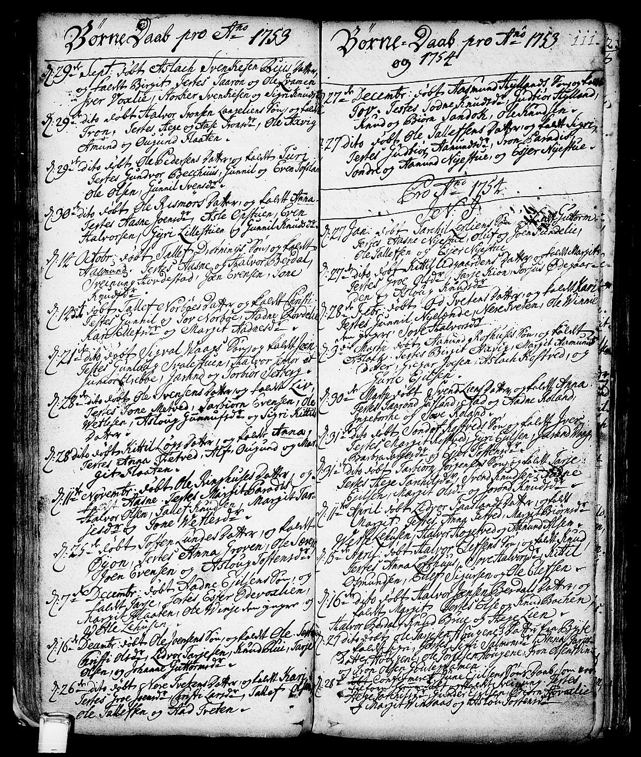 SAKO, Vinje kirkebøker, F/Fa/L0001: Ministerialbok nr. I 1, 1717-1766, s. 111