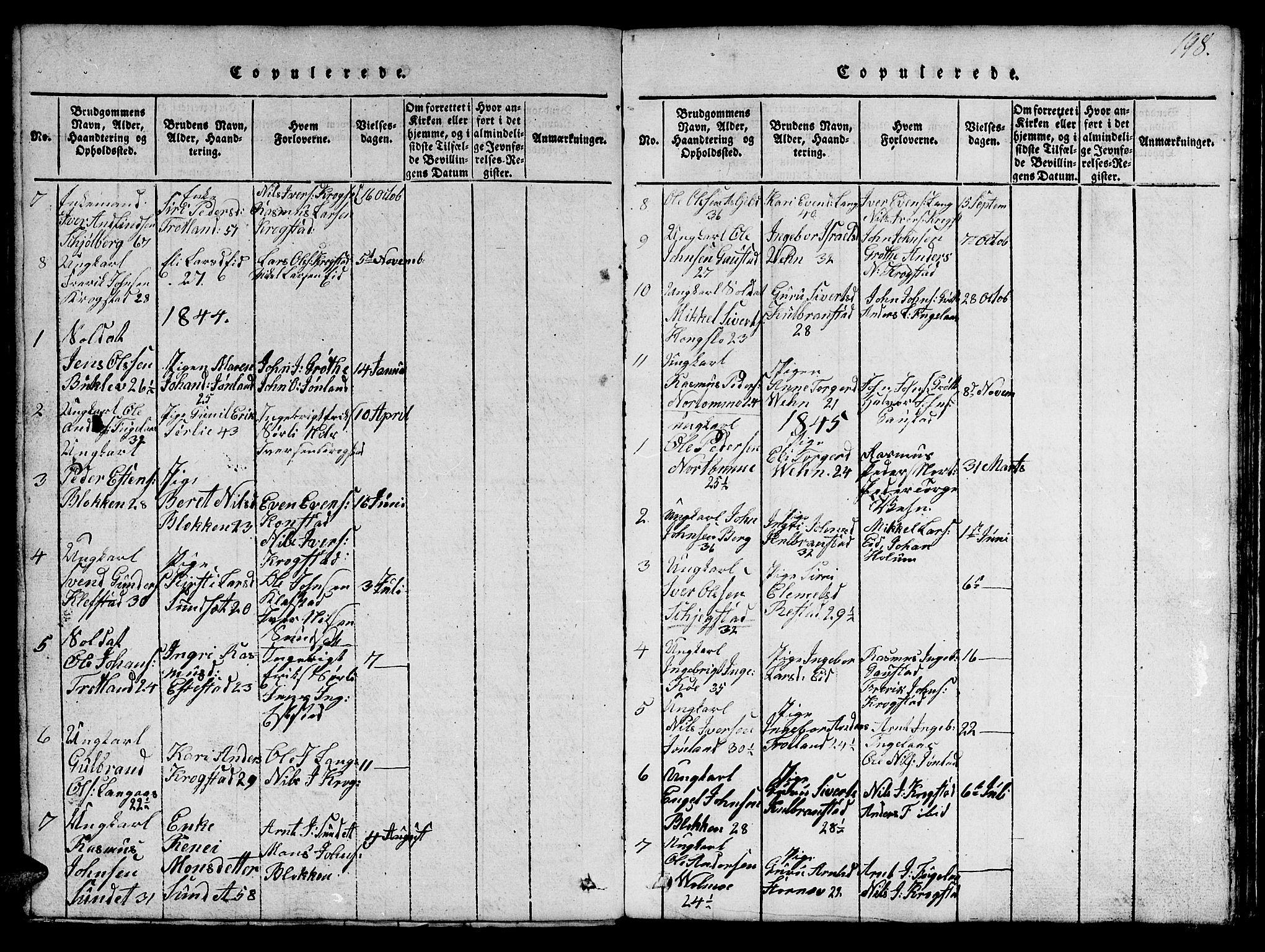 SAT, Ministerialprotokoller, klokkerbøker og fødselsregistre - Sør-Trøndelag, 694/L1130: Klokkerbok nr. 694C02, 1816-1857, s. 198