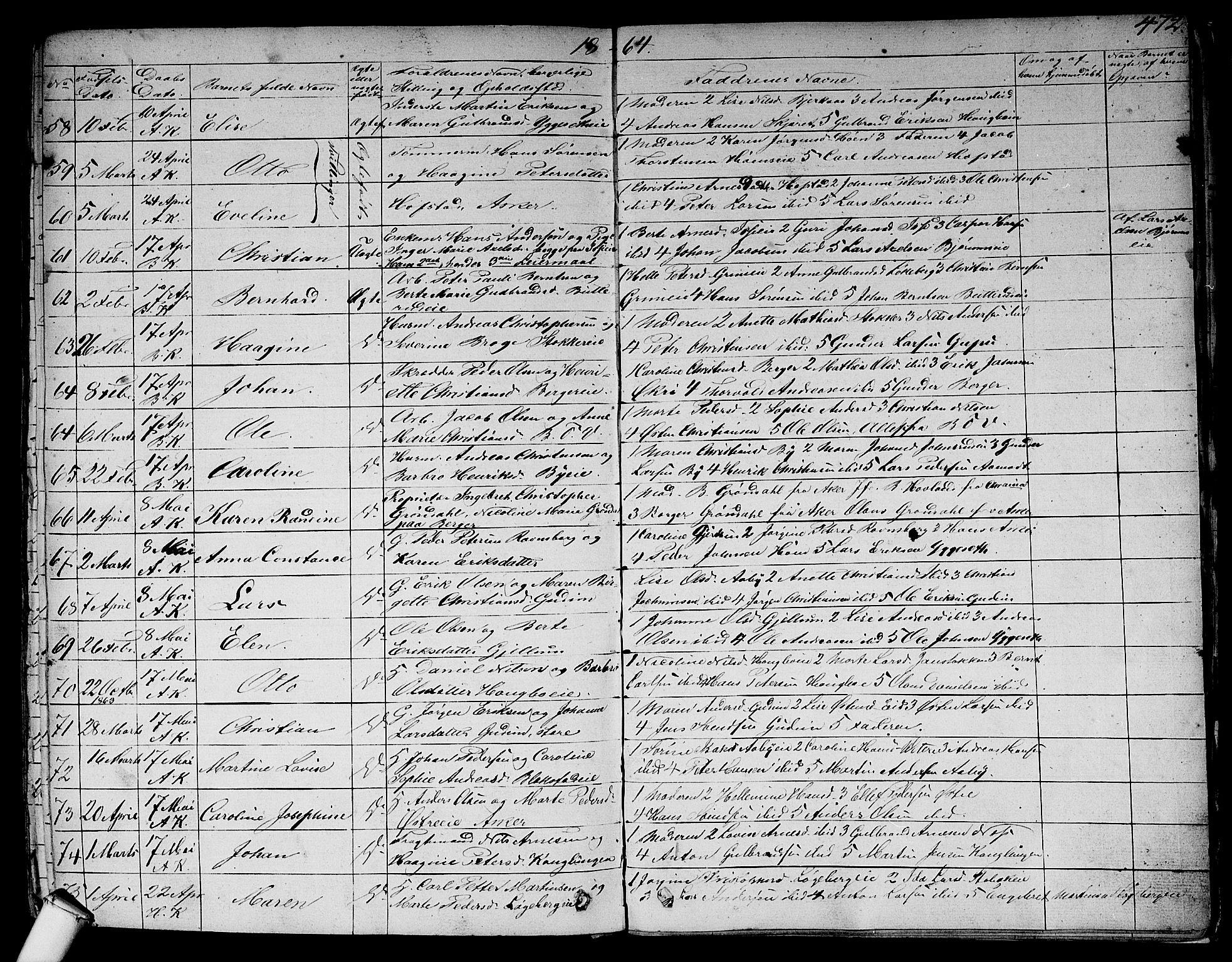 SAO, Asker prestekontor Kirkebøker, F/Fa/L0007: Ministerialbok nr. I 7, 1825-1864, s. 472