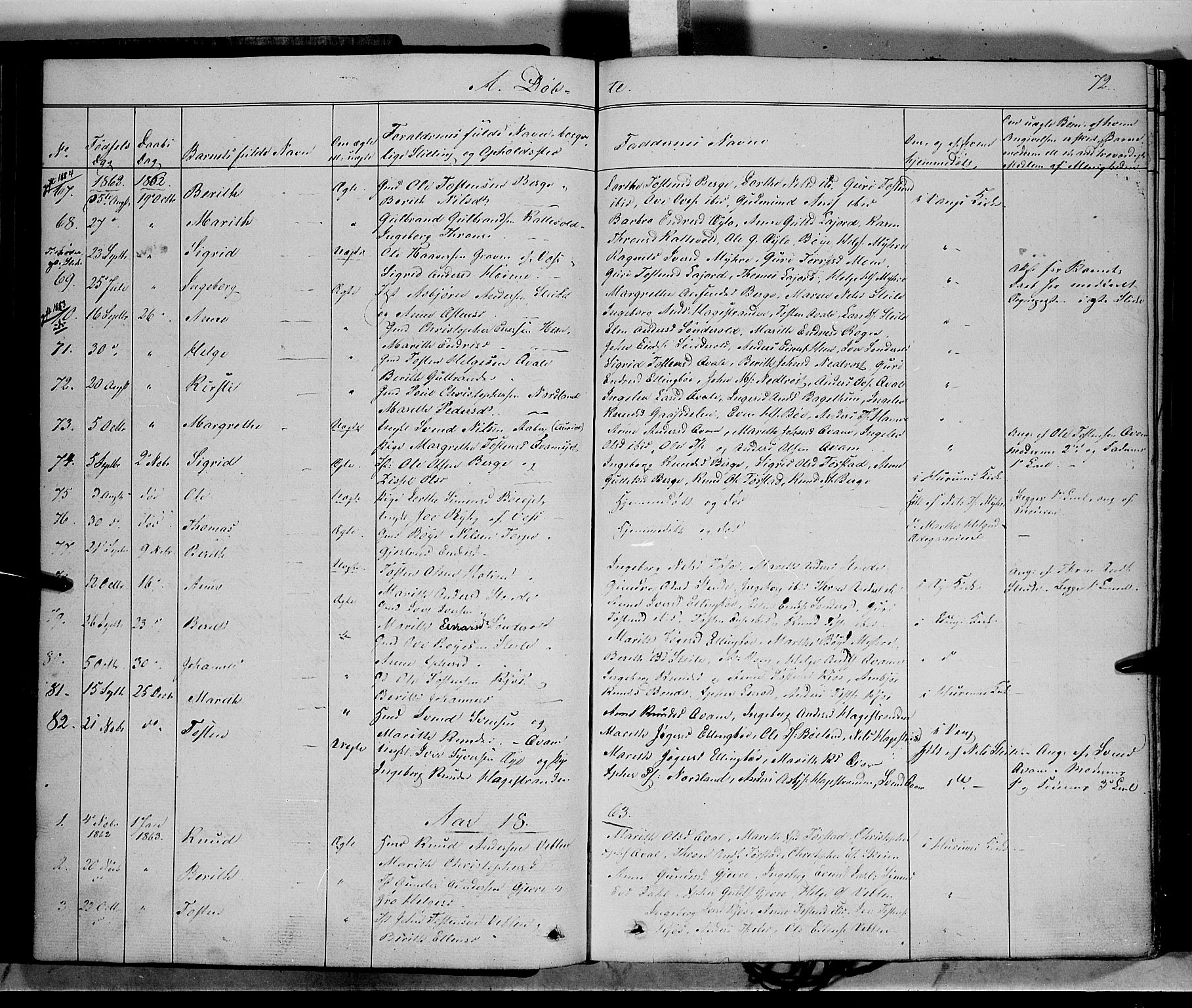 SAH, Vang prestekontor, Valdres, Ministerialbok nr. 6, 1846-1864, s. 72