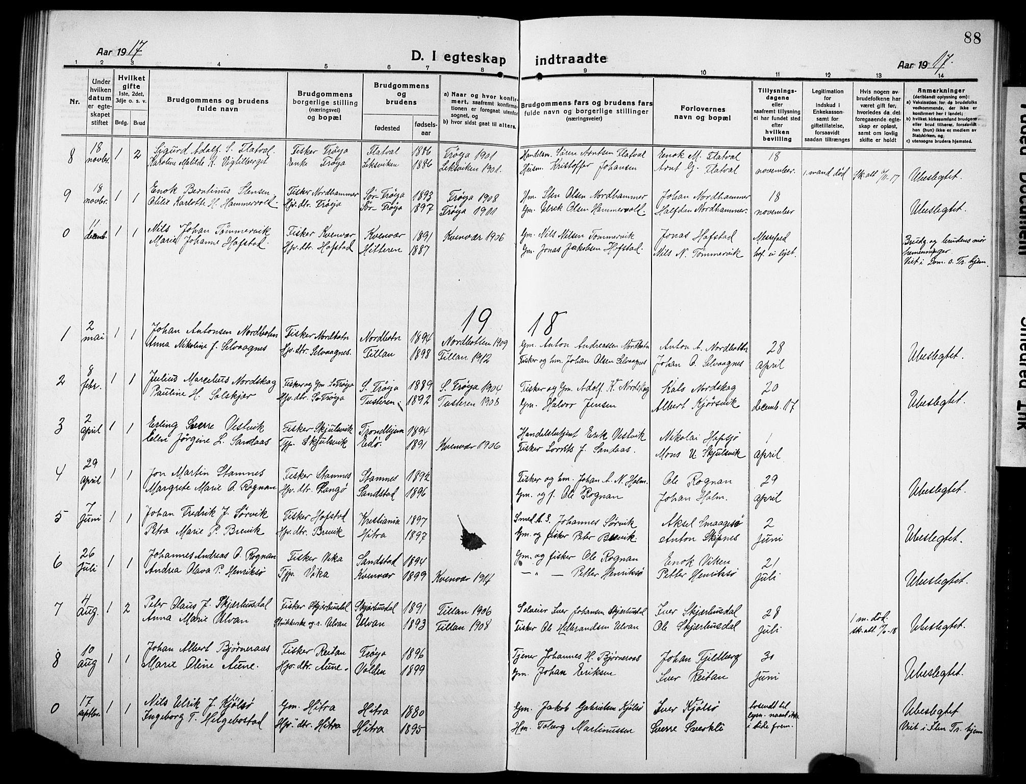 SAT, Ministerialprotokoller, klokkerbøker og fødselsregistre - Sør-Trøndelag, 634/L0543: Klokkerbok nr. 634C05, 1917-1928, s. 88