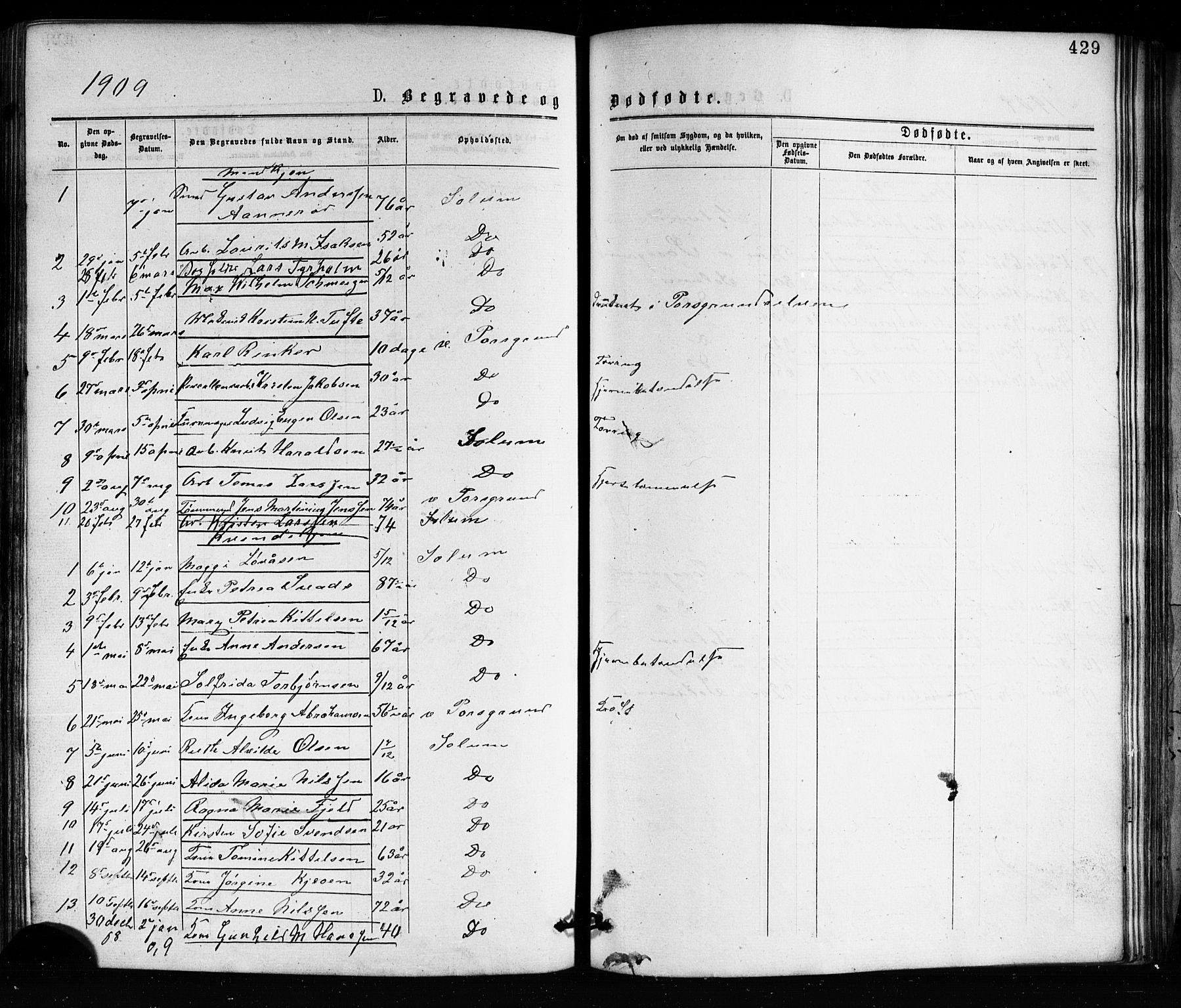 SAKO, Porsgrunn kirkebøker , G/Ga/L0003: Klokkerbok nr. I 3, 1877-1915, s. 429