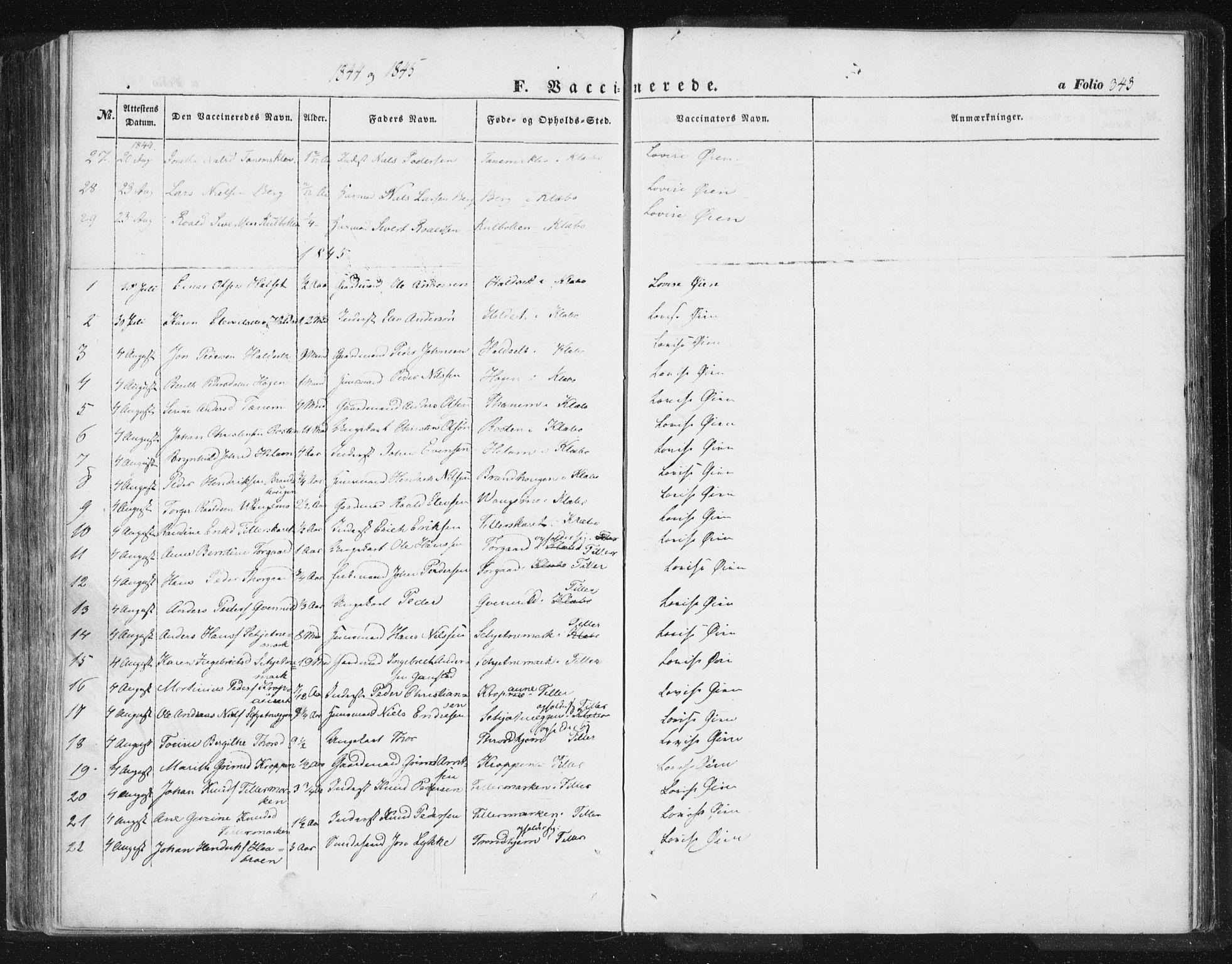 SAT, Ministerialprotokoller, klokkerbøker og fødselsregistre - Sør-Trøndelag, 618/L0441: Ministerialbok nr. 618A05, 1843-1862, s. 343