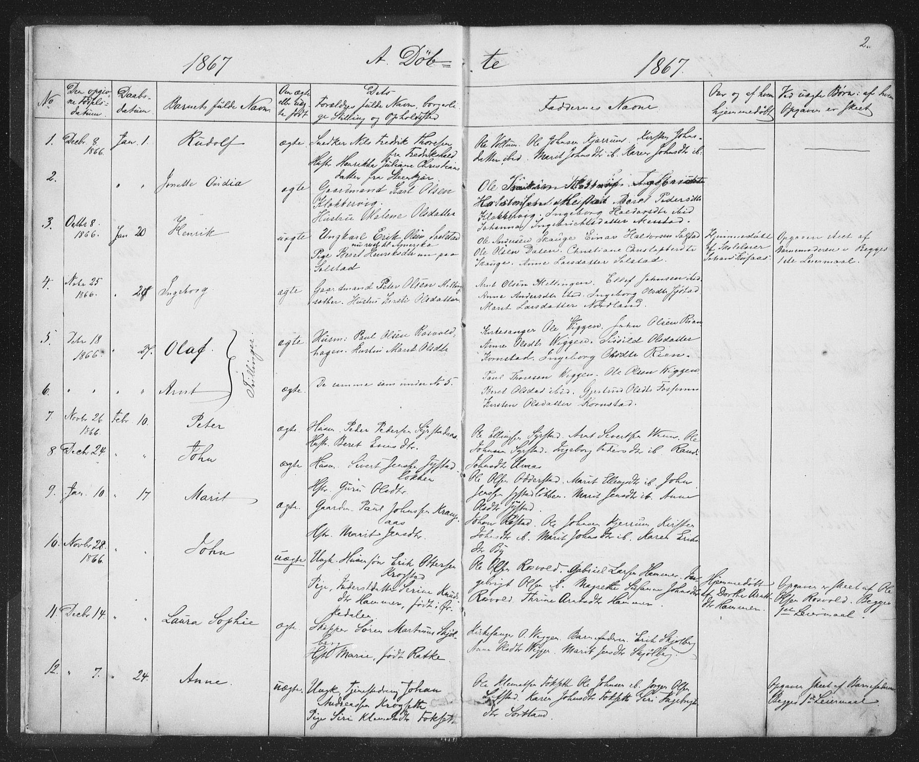 SAT, Ministerialprotokoller, klokkerbøker og fødselsregistre - Sør-Trøndelag, 667/L0798: Klokkerbok nr. 667C03, 1867-1929, s. 2