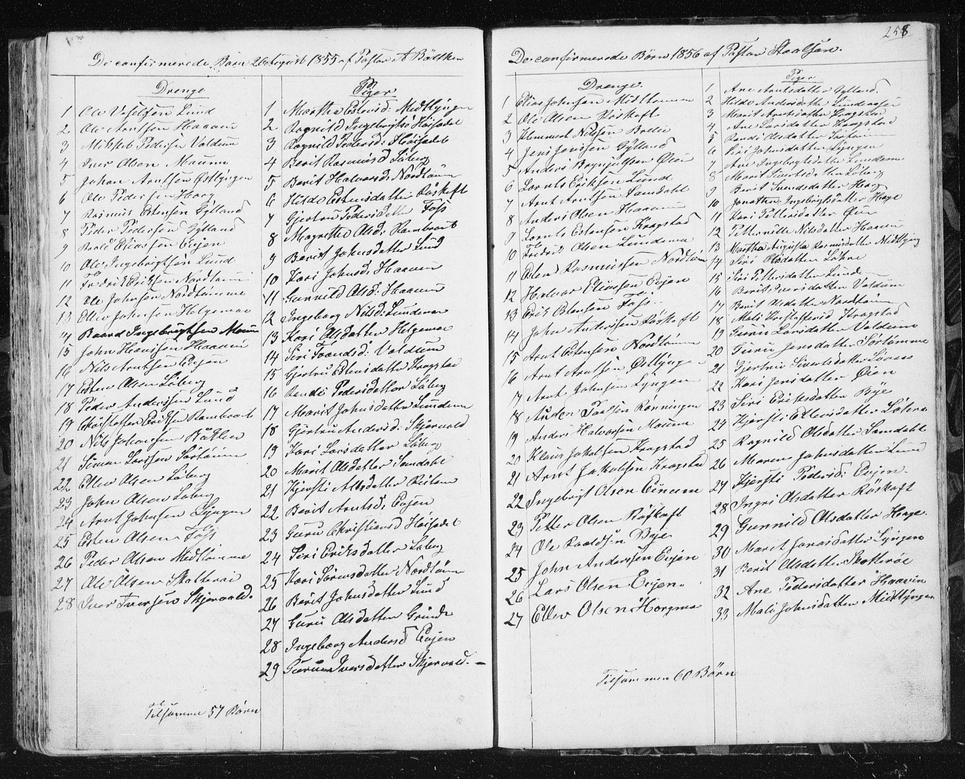SAT, Ministerialprotokoller, klokkerbøker og fødselsregistre - Sør-Trøndelag, 692/L1110: Klokkerbok nr. 692C05, 1849-1889, s. 258