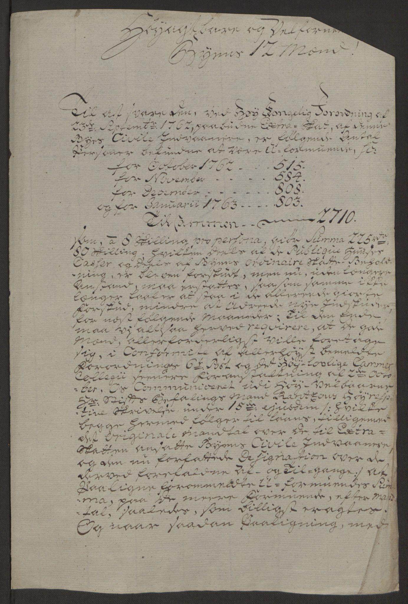 RA, Rentekammeret inntil 1814, Reviderte regnskaper, Byregnskaper, R/Rs/L0516: [S9] Kontribusjonsregnskap, 1762-1767, s. 104