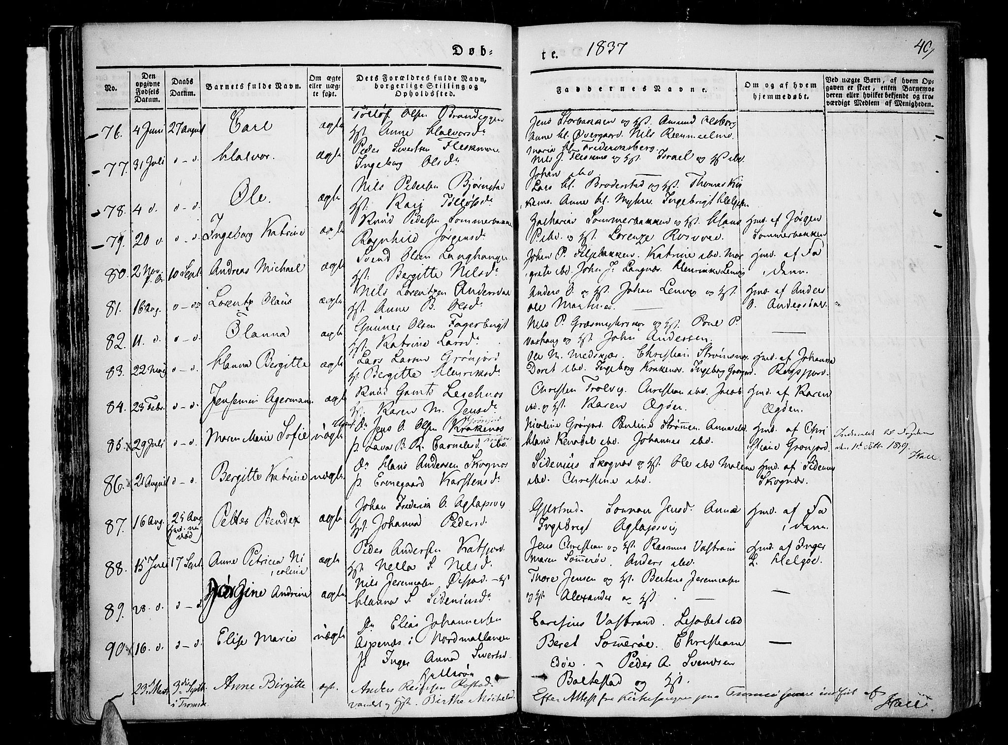 SATØ, Lenvik sokneprestembete, H/Ha: Ministerialbok nr. 4, 1832-1844, s. 40