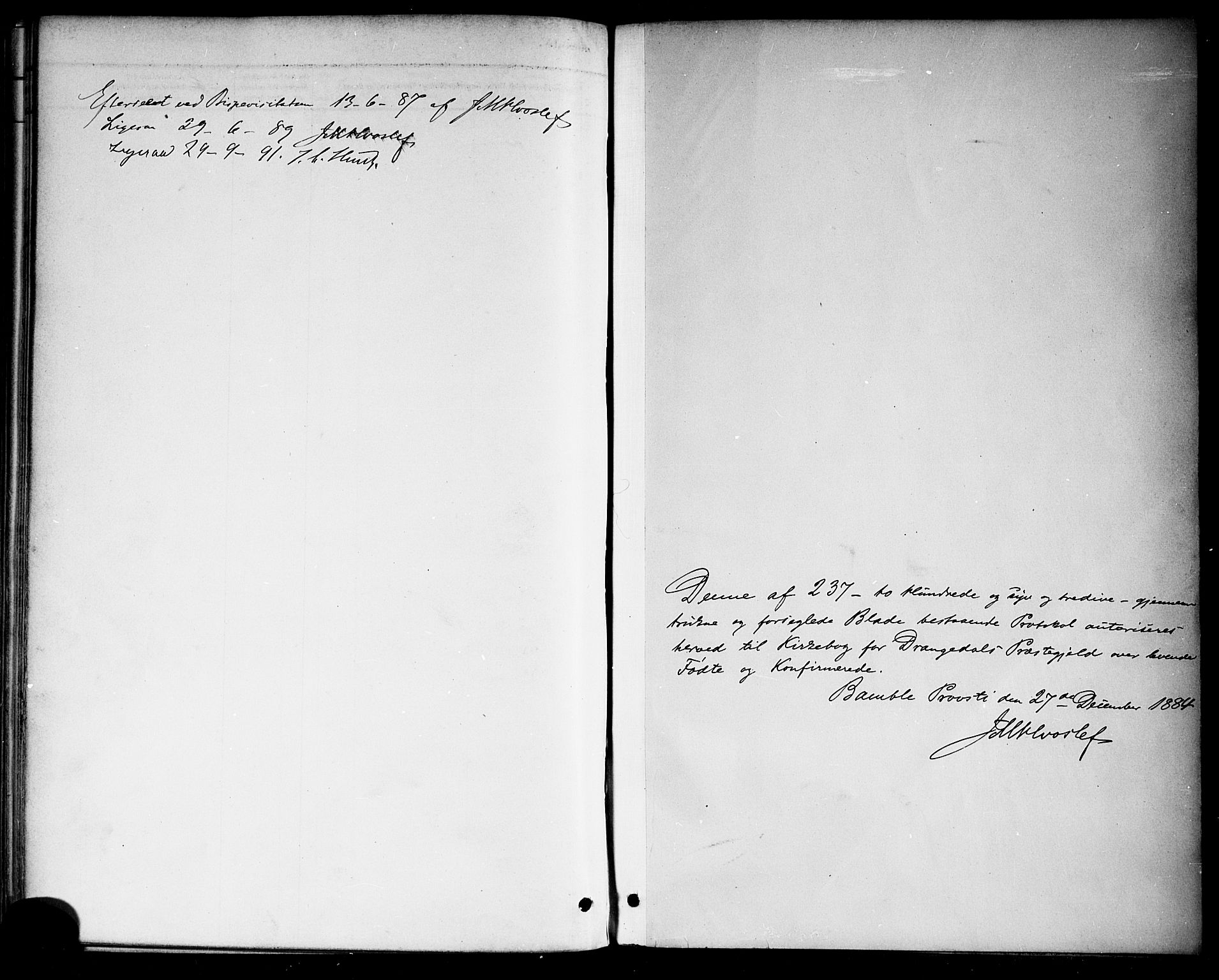 SAKO, Drangedal kirkebøker, F/Fa/L0010: Ministerialbok nr. 10 /1, 1885-1894