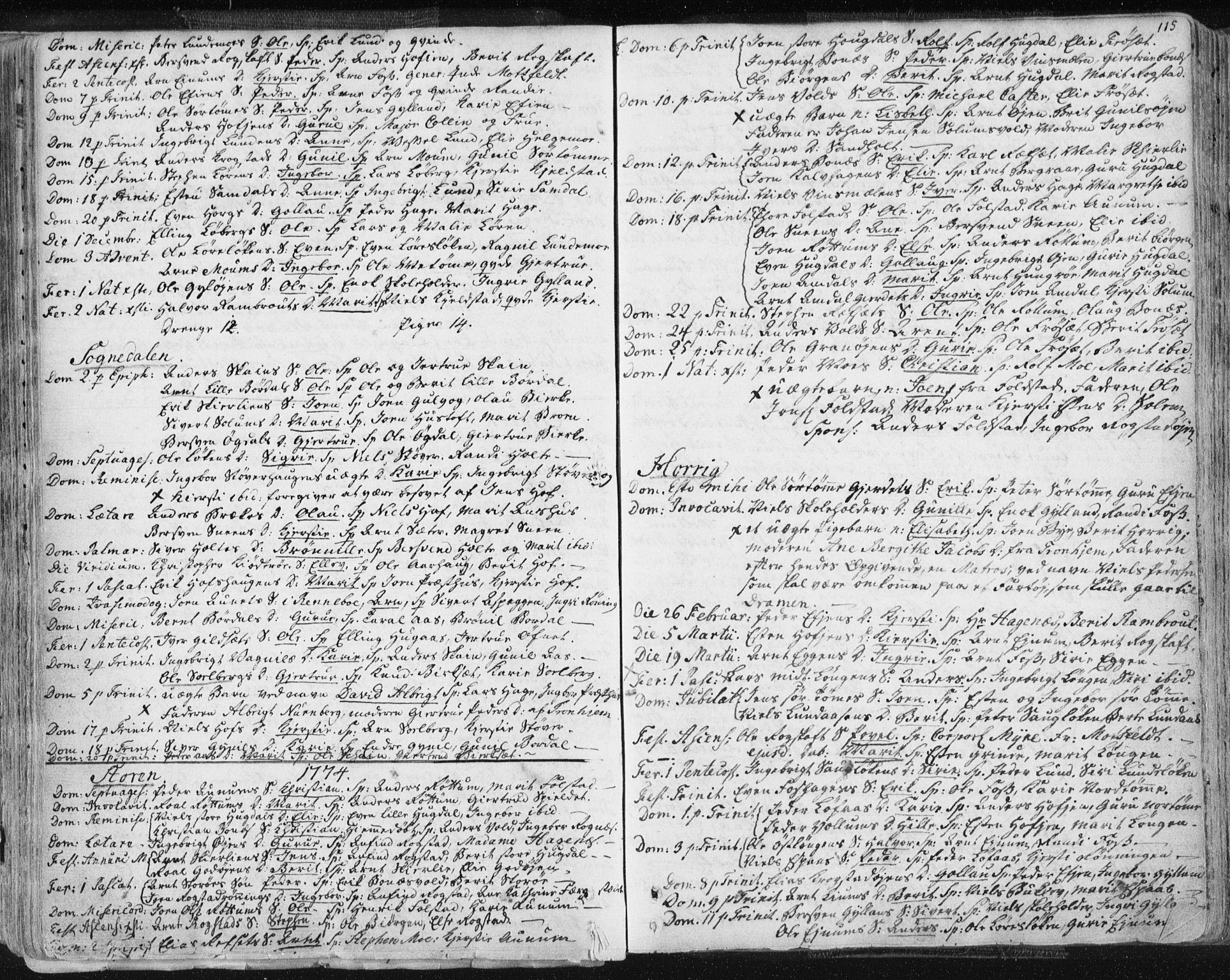 SAT, Ministerialprotokoller, klokkerbøker og fødselsregistre - Sør-Trøndelag, 687/L0991: Ministerialbok nr. 687A02, 1747-1790, s. 115