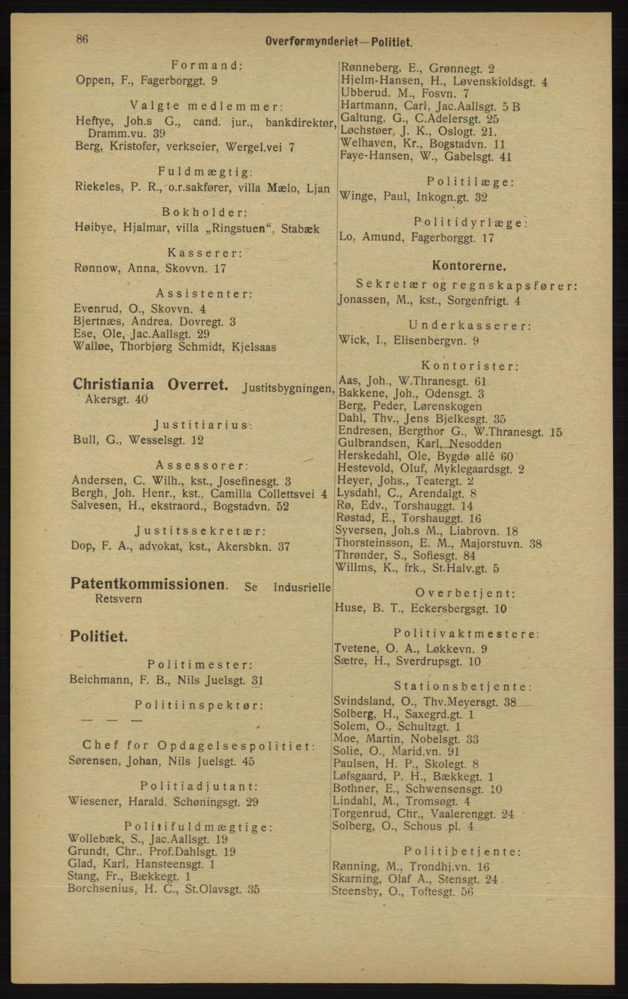 RA, Kristiania adressebok (publikasjon)*, 1913, s. 86