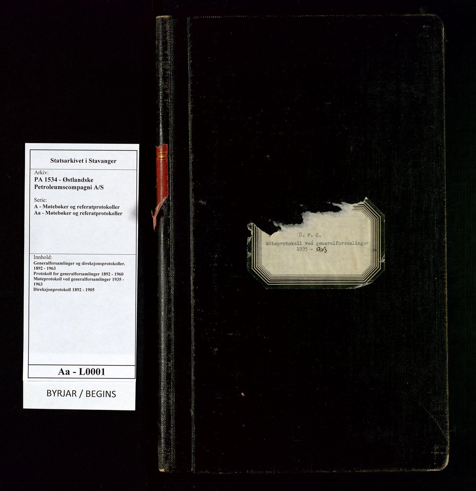SAST, PA 1534 - Østlandske Petroleumscompagni A/S, A/Aa/L0001: Generalforsamlinger og direksjonsprotokoller., 1935-1963, s. 1