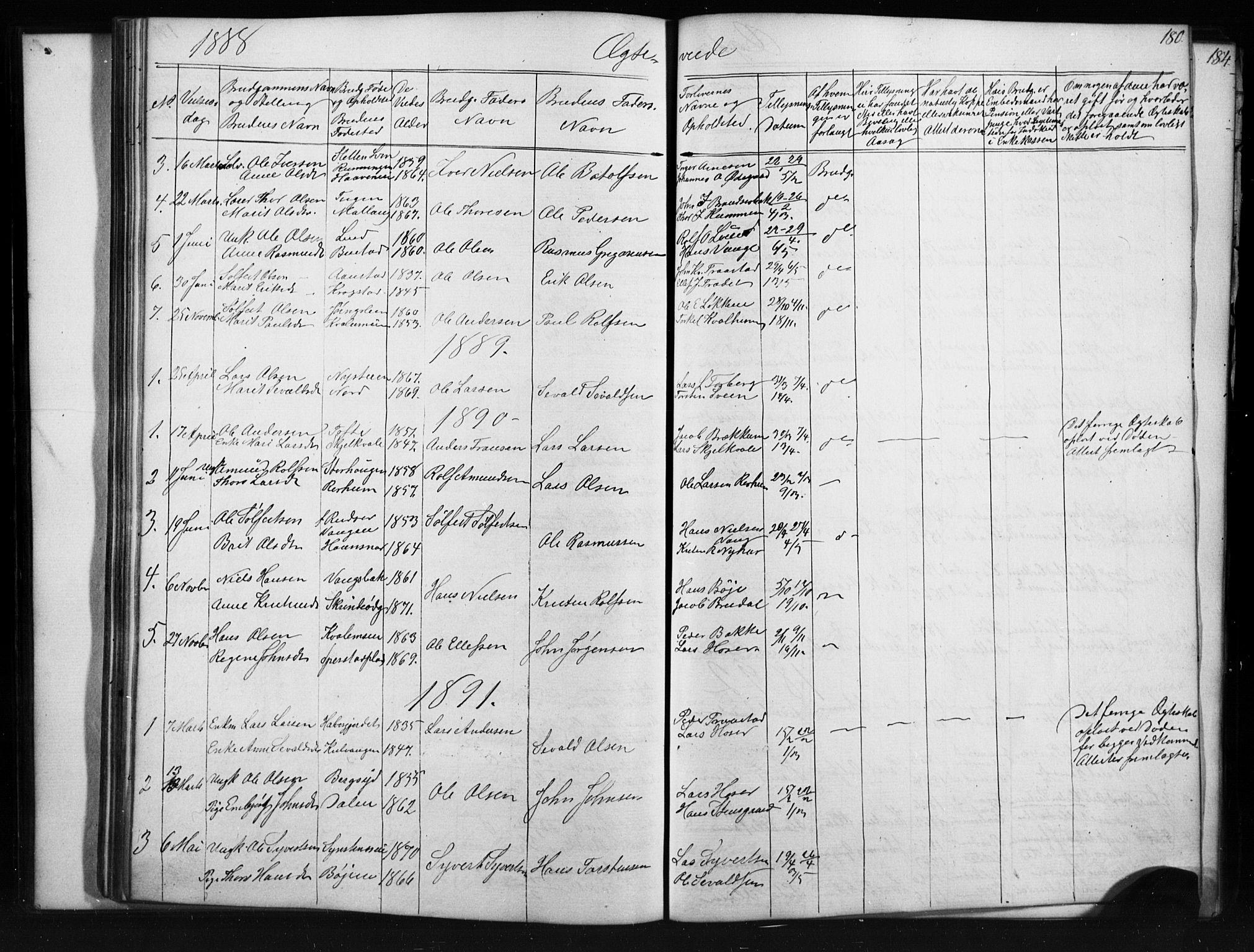 SAH, Skjåk prestekontor, Klokkerbok nr. 1, 1865-1893, s. 180
