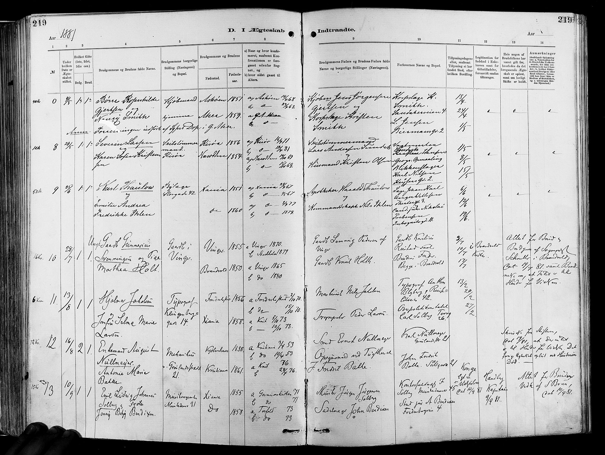 SAO, Garnisonsmenigheten Kirkebøker, F/Fa/L0012: Ministerialbok nr. 12, 1880-1893, s. 219