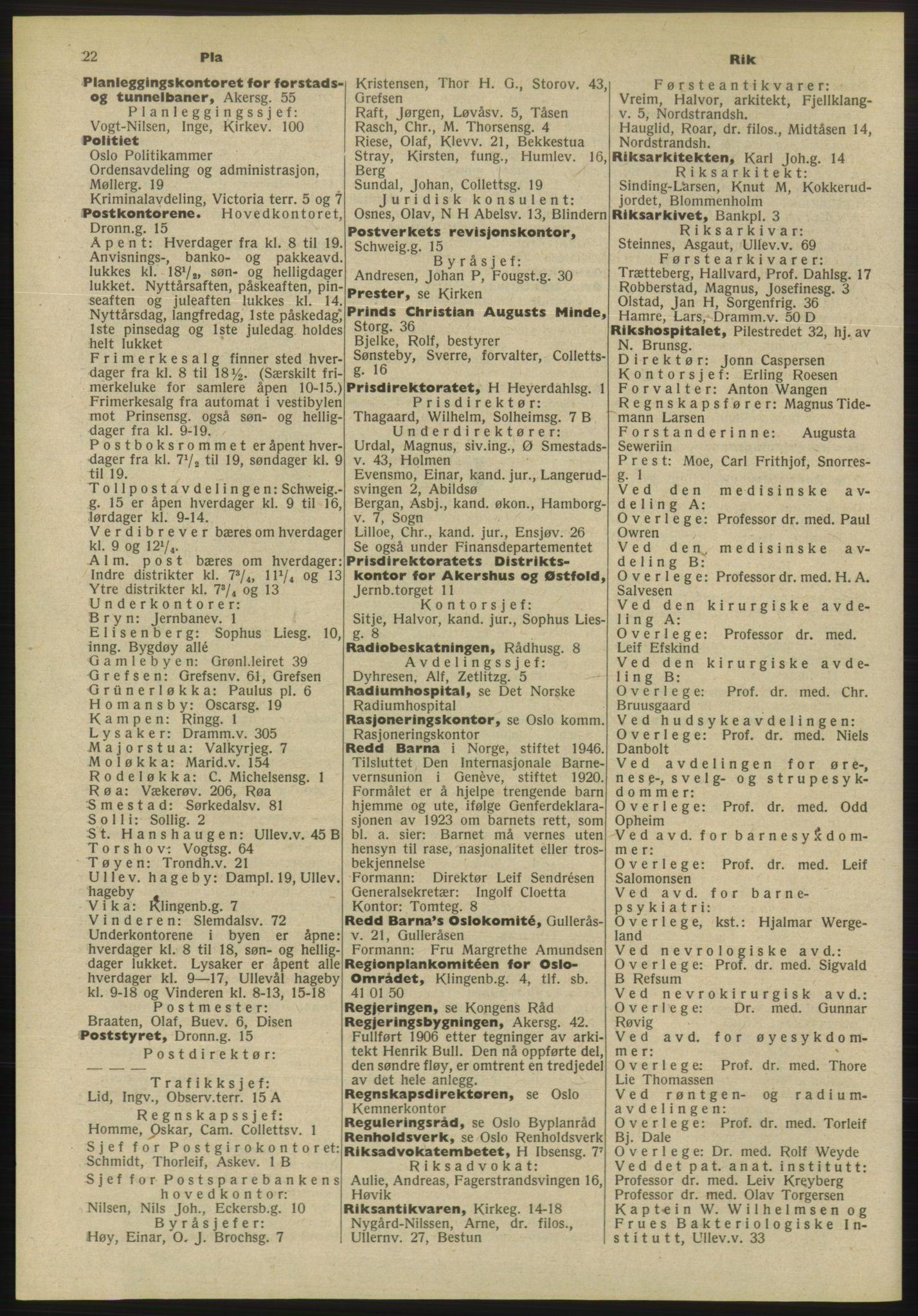 PUBL, Kristiania/Oslo adressebok, 1955, s. 22