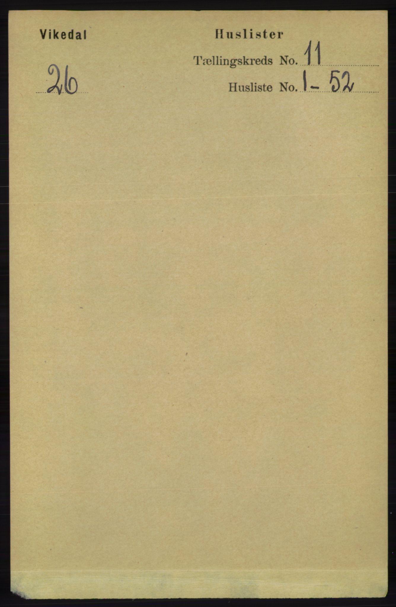RA, Folketelling 1891 for 1157 Vikedal herred, 1891, s. 2841