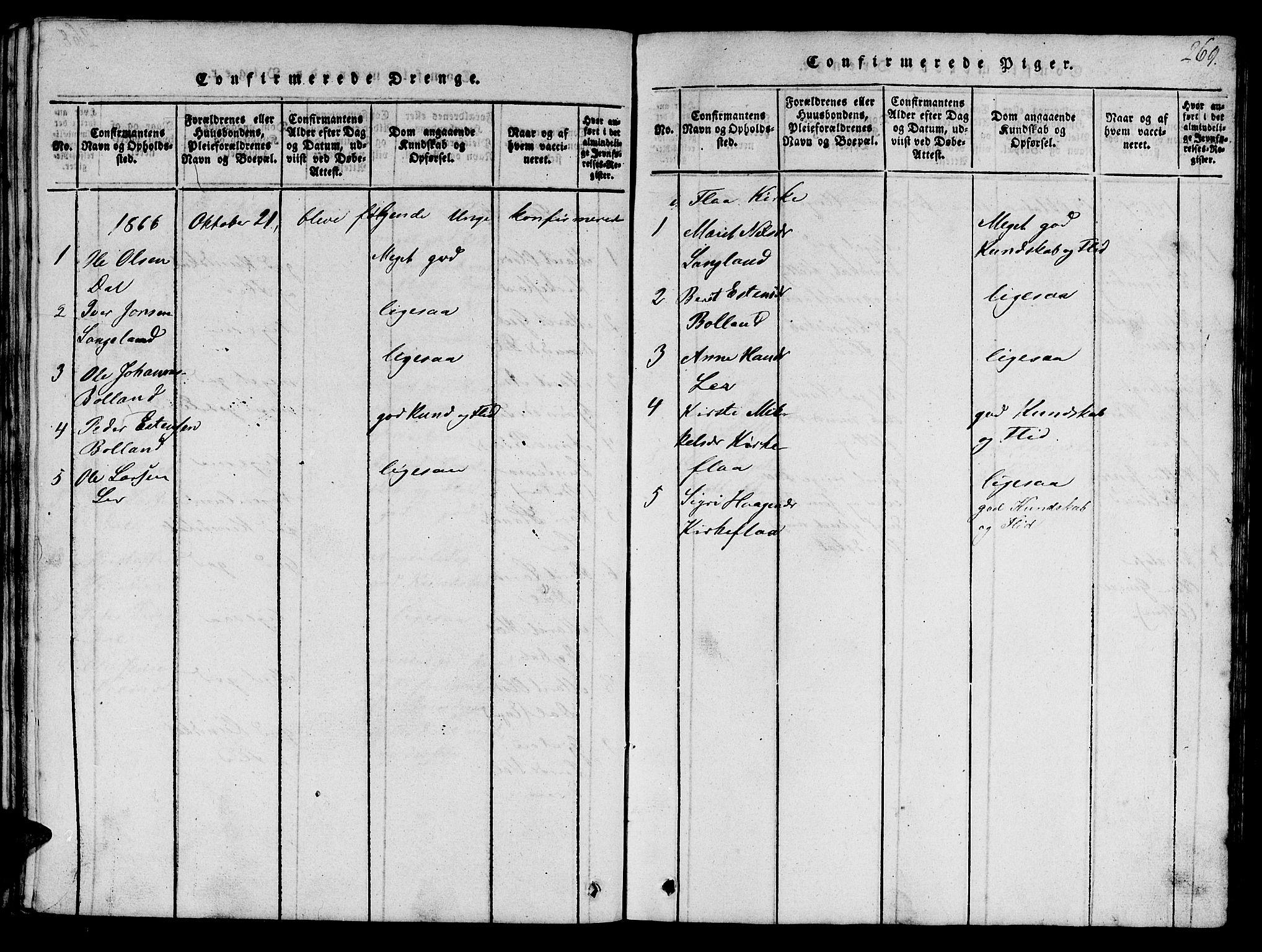 SAT, Ministerialprotokoller, klokkerbøker og fødselsregistre - Sør-Trøndelag, 693/L1121: Klokkerbok nr. 693C02, 1816-1869, s. 269