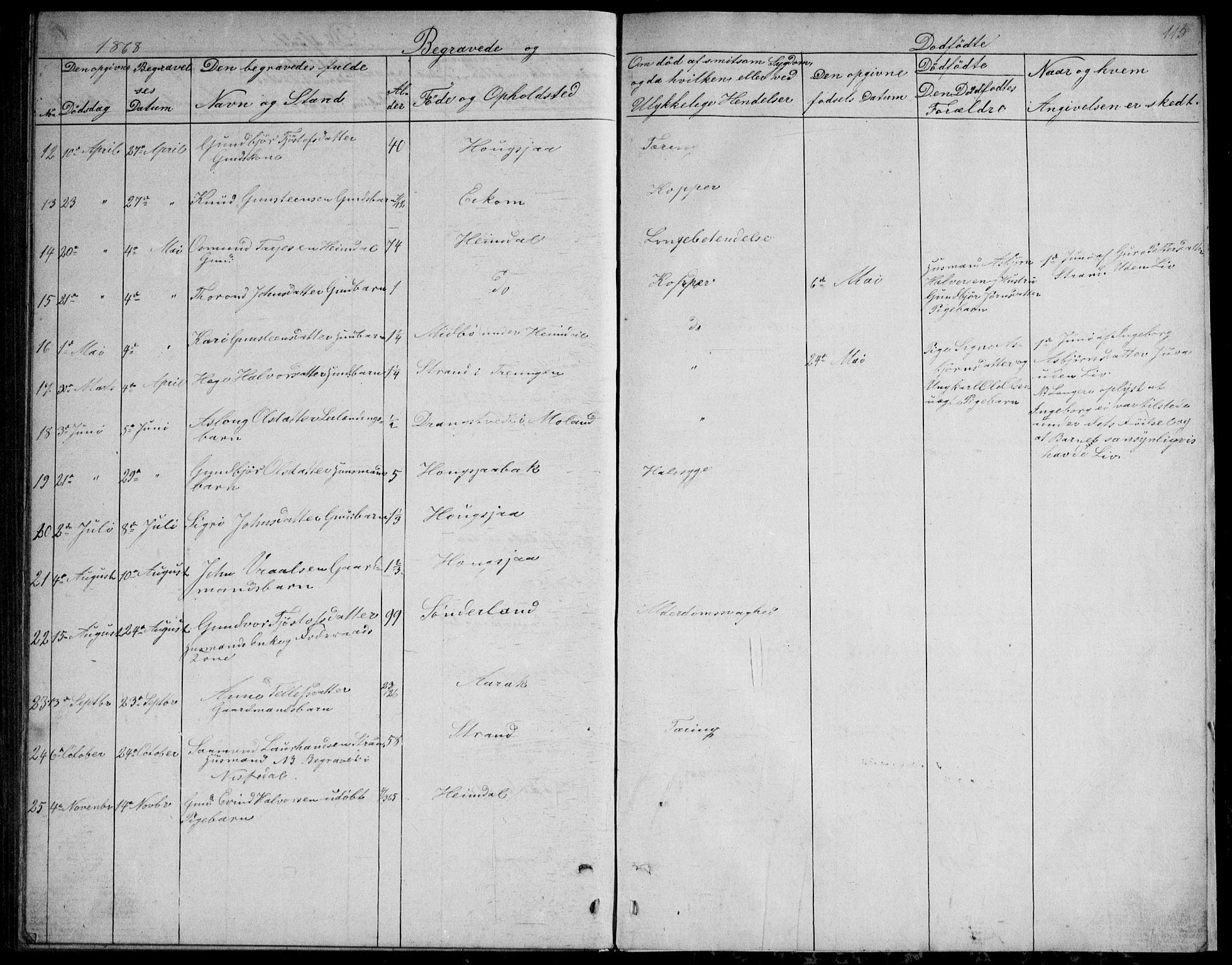 SAKO, Nissedal kirkebøker, G/Gb/L0002: Klokkerbok nr. II 2, 1863-1892, s. 115