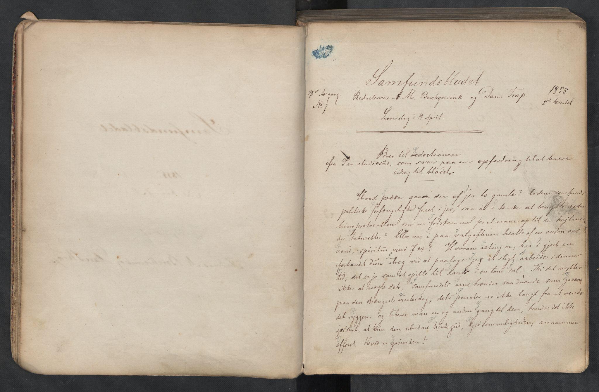 RA, Det Norske Studentersamfund, X/Xa/L0005, 1855-1856, s. 14