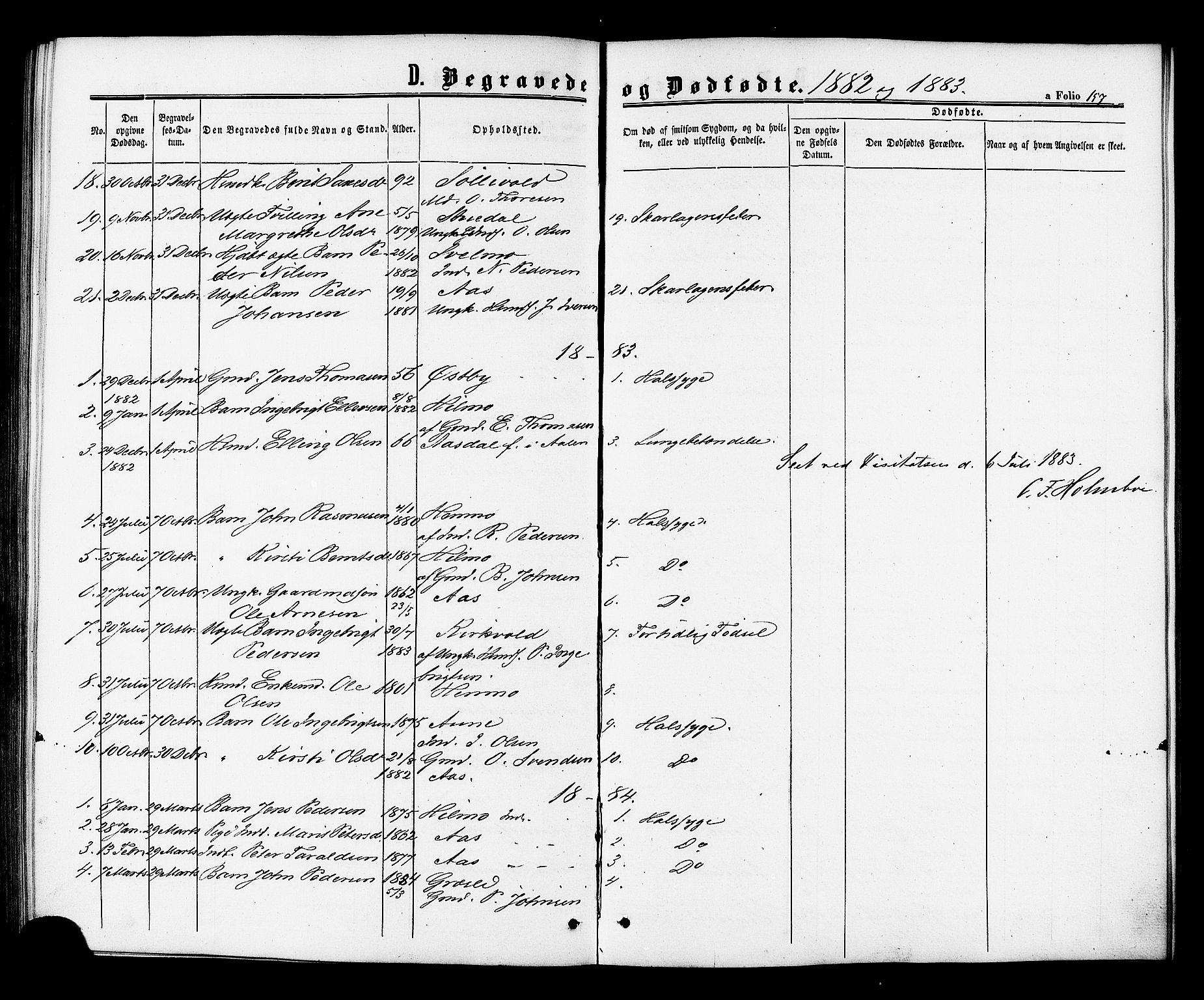 SAT, Ministerialprotokoller, klokkerbøker og fødselsregistre - Sør-Trøndelag, 698/L1163: Ministerialbok nr. 698A01, 1862-1887, s. 157