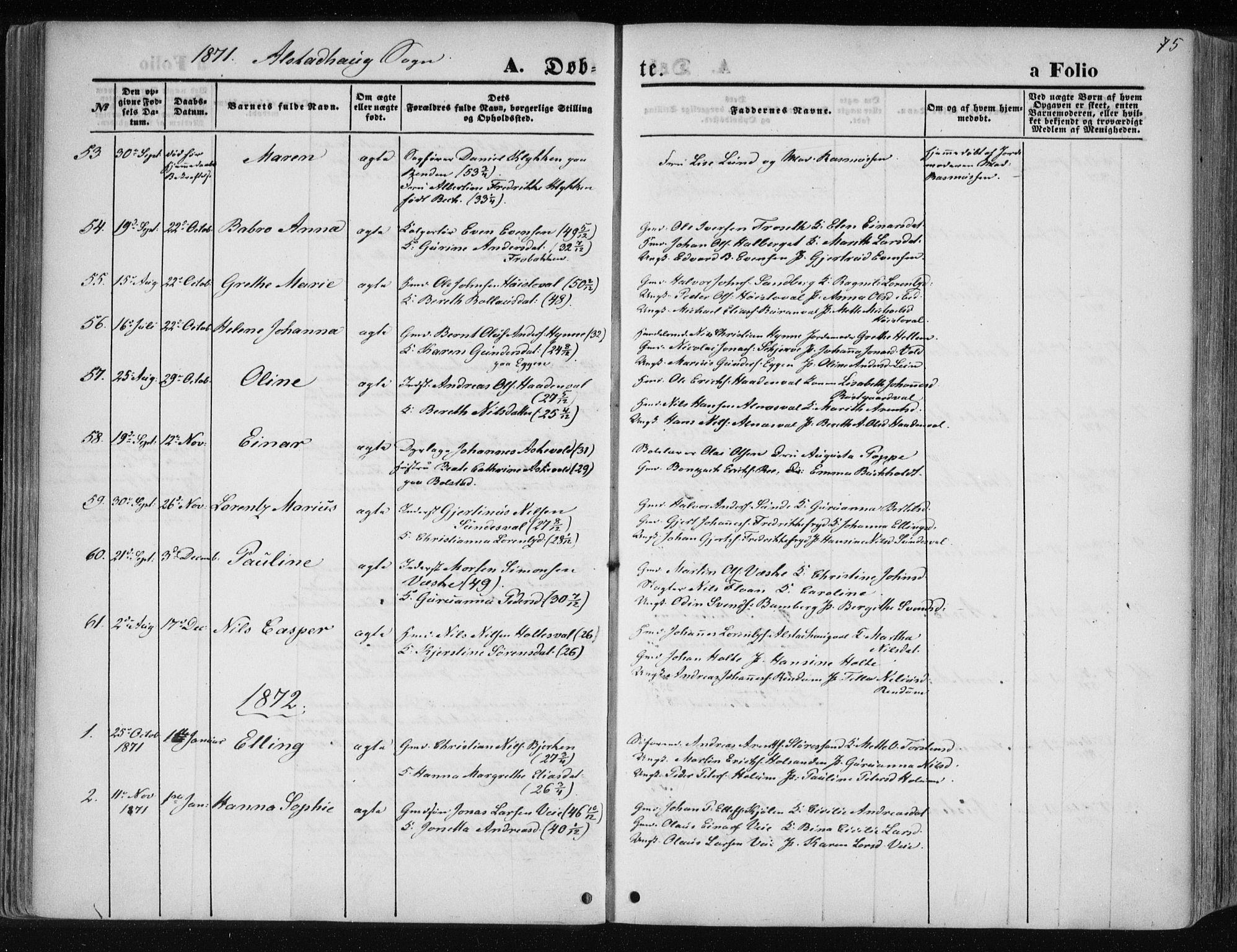 SAT, Ministerialprotokoller, klokkerbøker og fødselsregistre - Nord-Trøndelag, 717/L0157: Ministerialbok nr. 717A08 /1, 1863-1877, s. 75