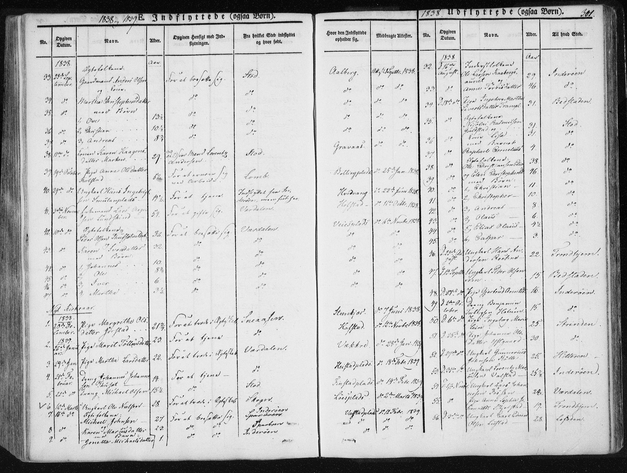 SAT, Ministerialprotokoller, klokkerbøker og fødselsregistre - Nord-Trøndelag, 735/L0339: Ministerialbok nr. 735A06 /1, 1836-1848, s. 301