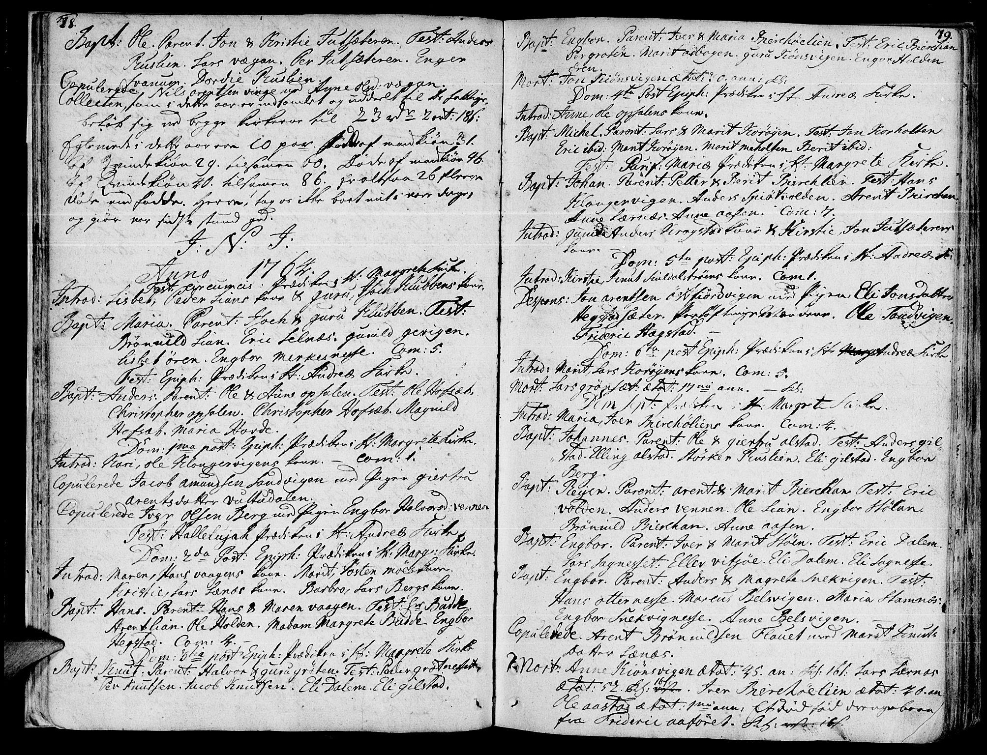 SAT, Ministerialprotokoller, klokkerbøker og fødselsregistre - Sør-Trøndelag, 630/L0489: Ministerialbok nr. 630A02, 1757-1794, s. 78-79
