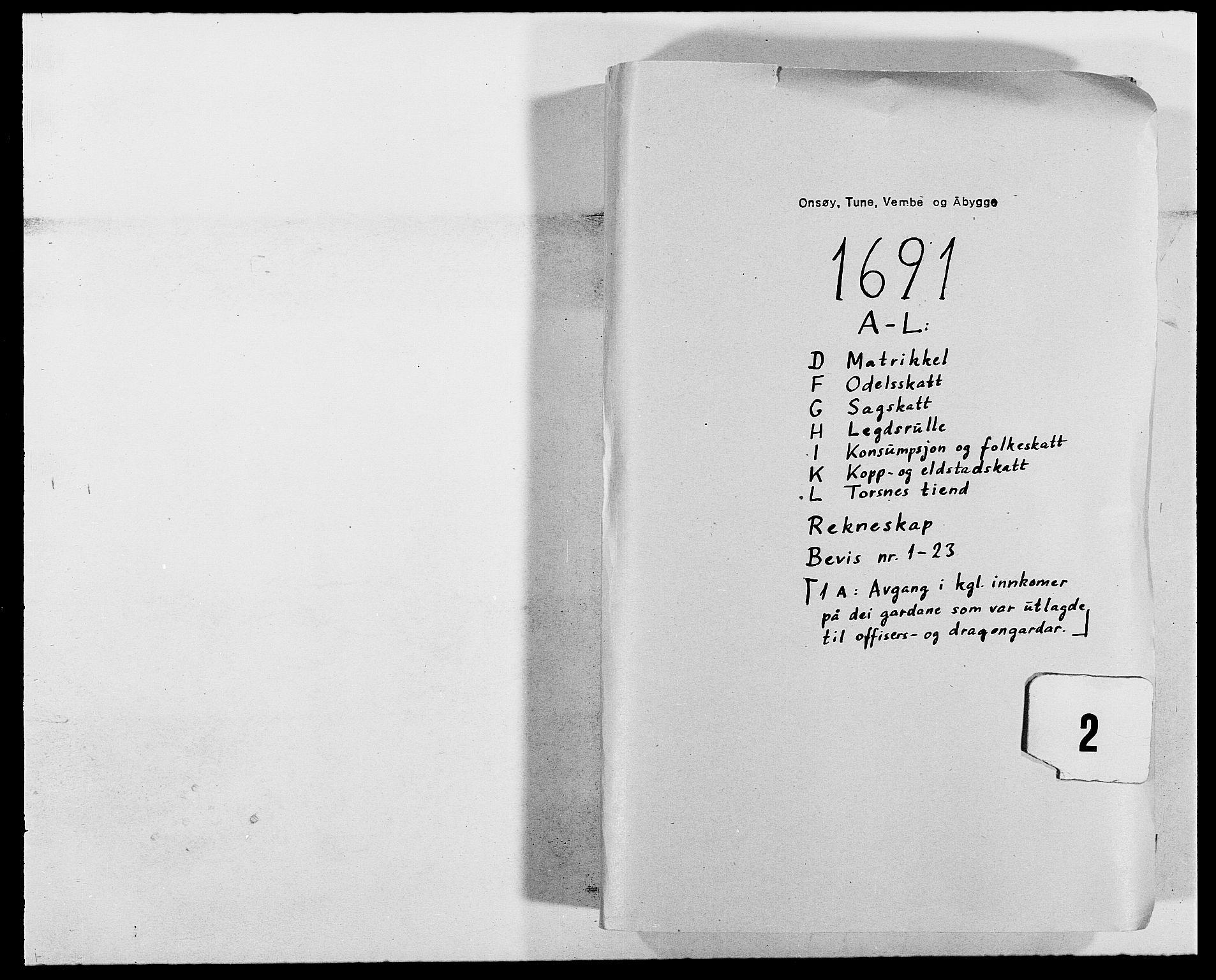 RA, Rentekammeret inntil 1814, Reviderte regnskaper, Fogderegnskap, R03/L0119: Fogderegnskap Onsøy, Tune, Veme og Åbygge fogderi, 1690-1691, s. 212