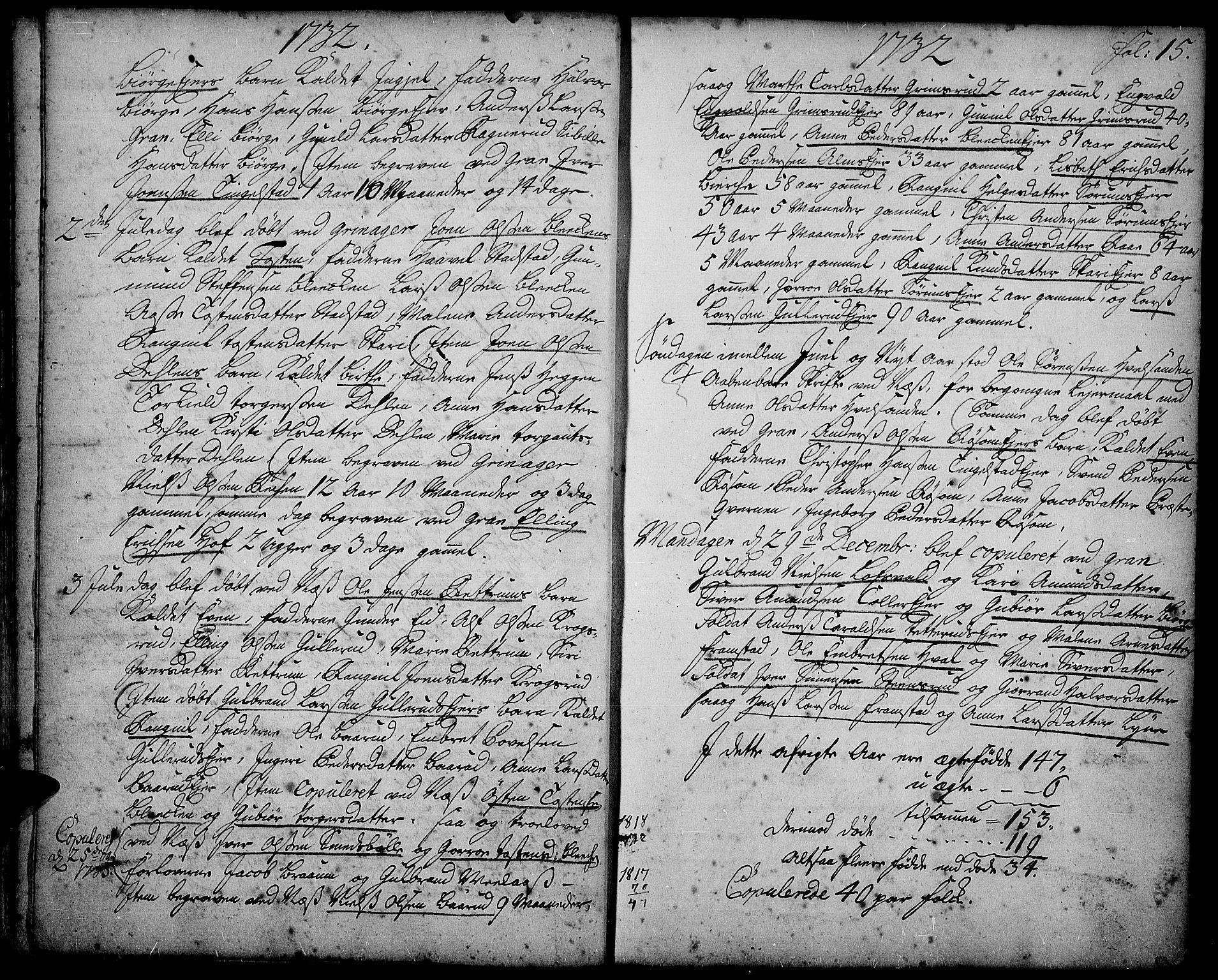 SAH, Gran prestekontor, Ministerialbok nr. 2, 1732-1744, s. 15