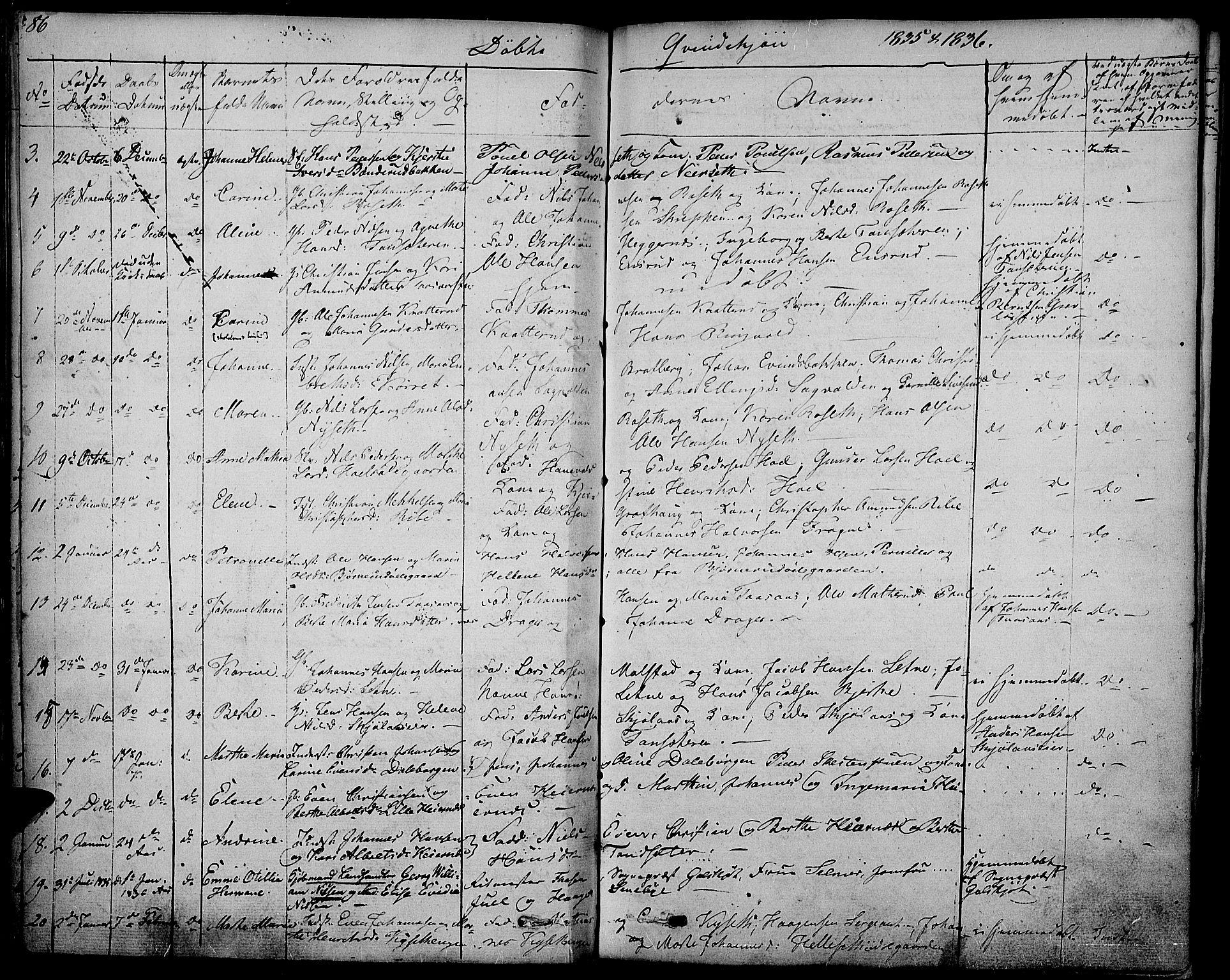 SAH, Vestre Toten prestekontor, H/Ha/Haa/L0002: Ministerialbok nr. 2, 1825-1837, s. 86