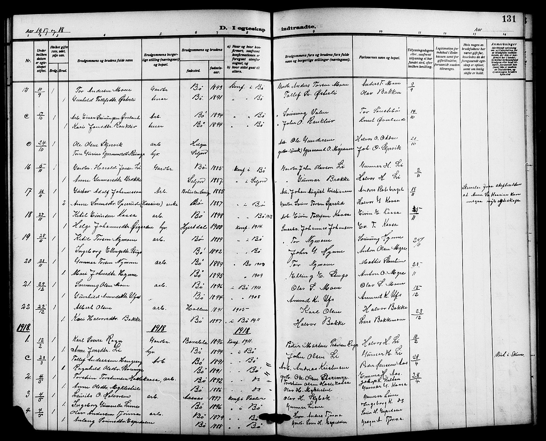 SAKO, Bø kirkebøker, G/Ga/L0007: Klokkerbok nr. 7, 1909-1924, s. 131