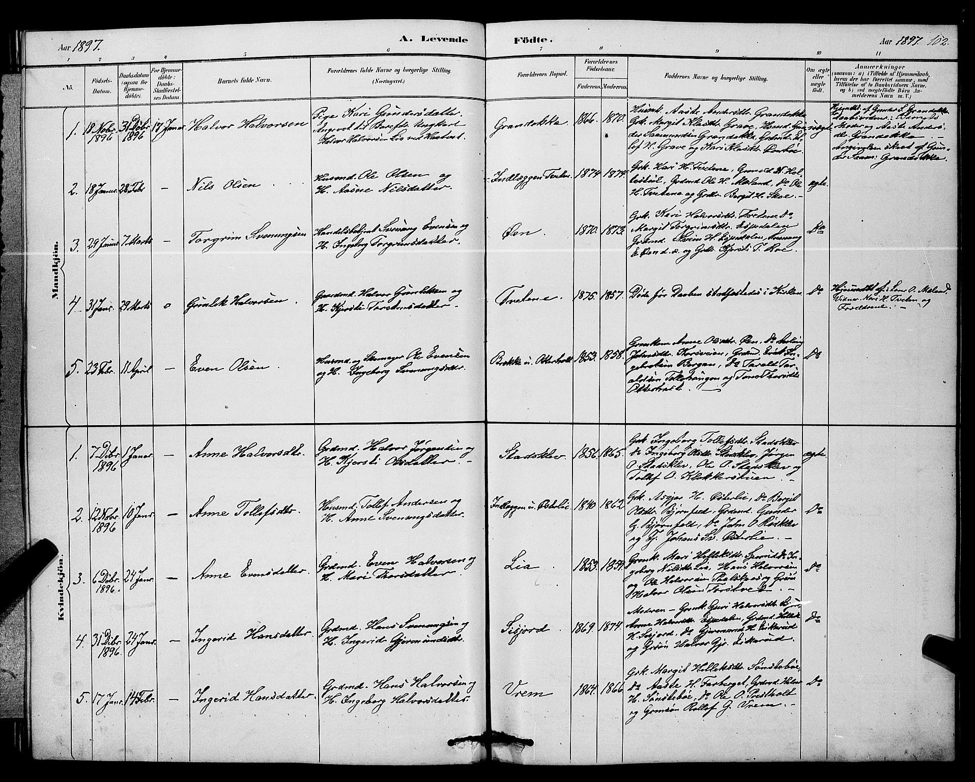 SAKO, Bø kirkebøker, G/Ga/L0005: Klokkerbok nr. 5, 1883-1897, s. 102