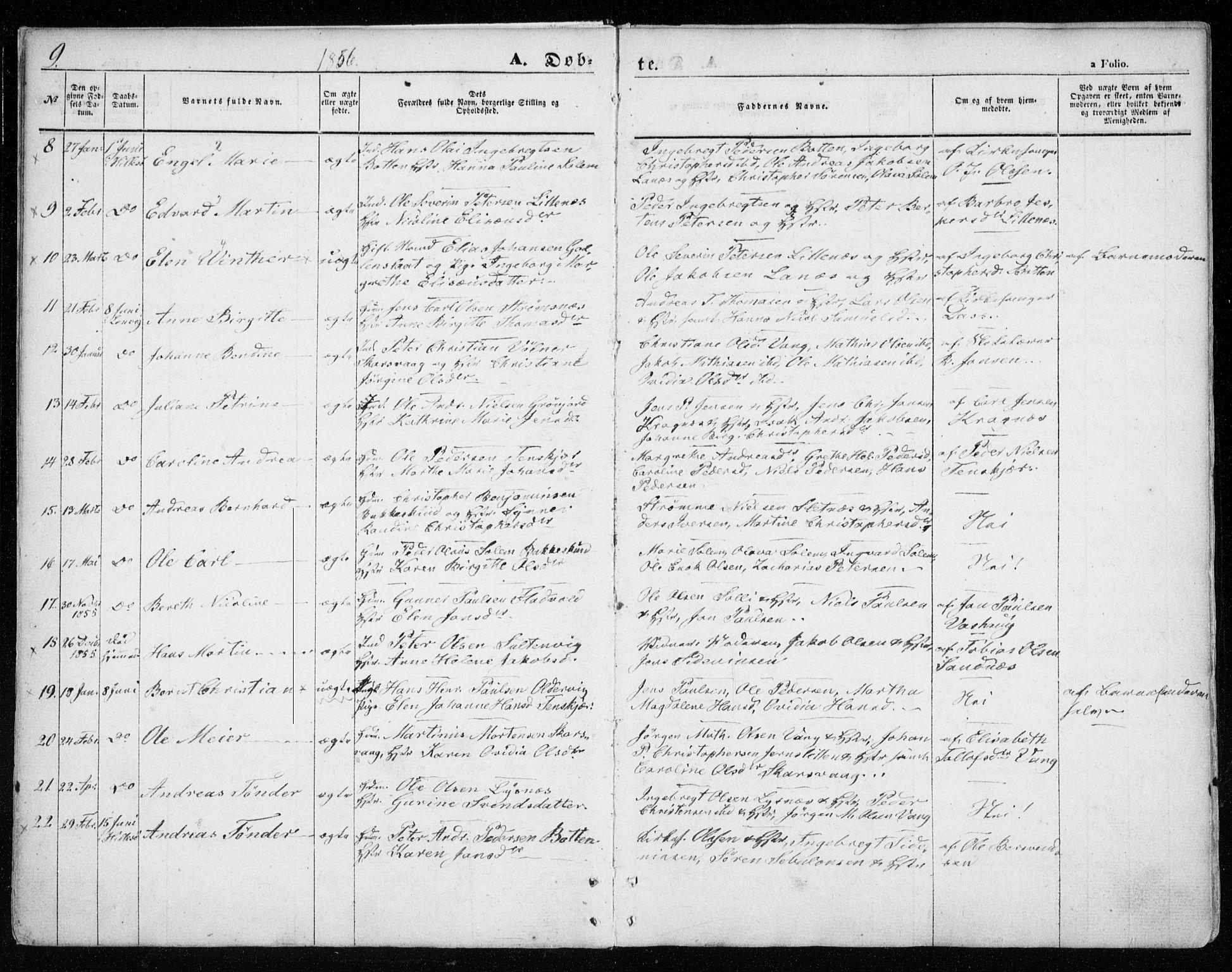 SATØ, Lenvik sokneprestembete, H/Ha: Ministerialbok nr. 7, 1855-1865, s. 9