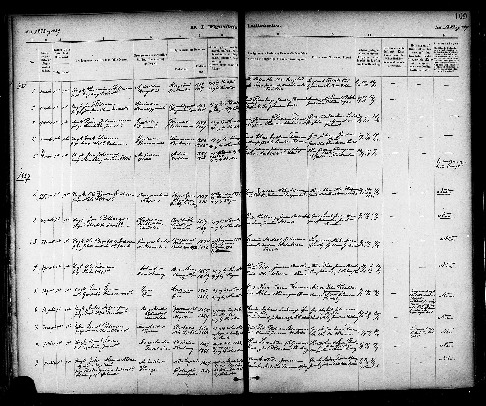 SAT, Ministerialprotokoller, klokkerbøker og fødselsregistre - Nord-Trøndelag, 706/L0047: Ministerialbok nr. 706A03, 1878-1892, s. 109