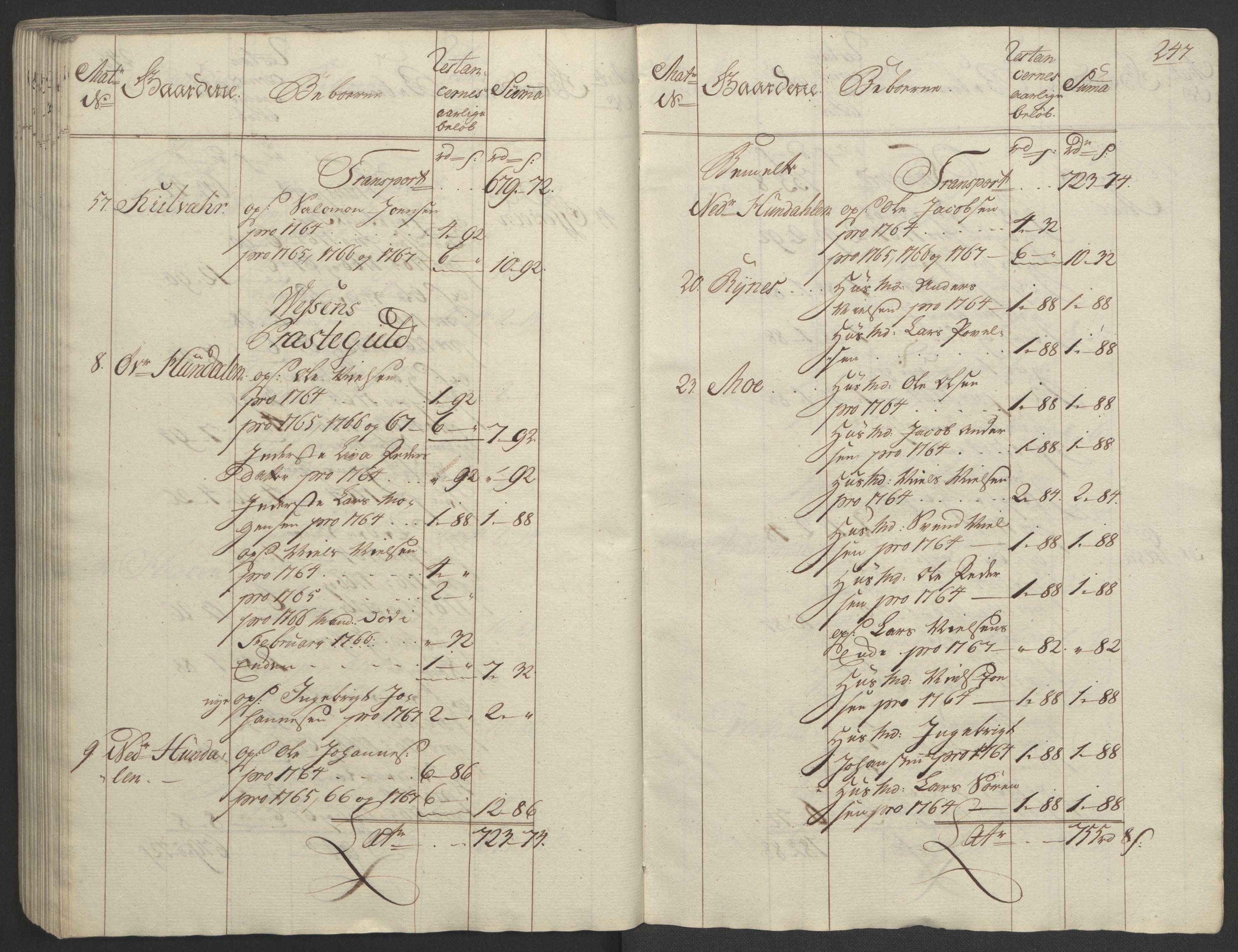 RA, Rentekammeret inntil 1814, Realistisk ordnet avdeling, Ol/L0023: [Gg 10]: Ekstraskatten, 23.09.1762. Helgeland (restanseregister), 1767-1772, s. 243