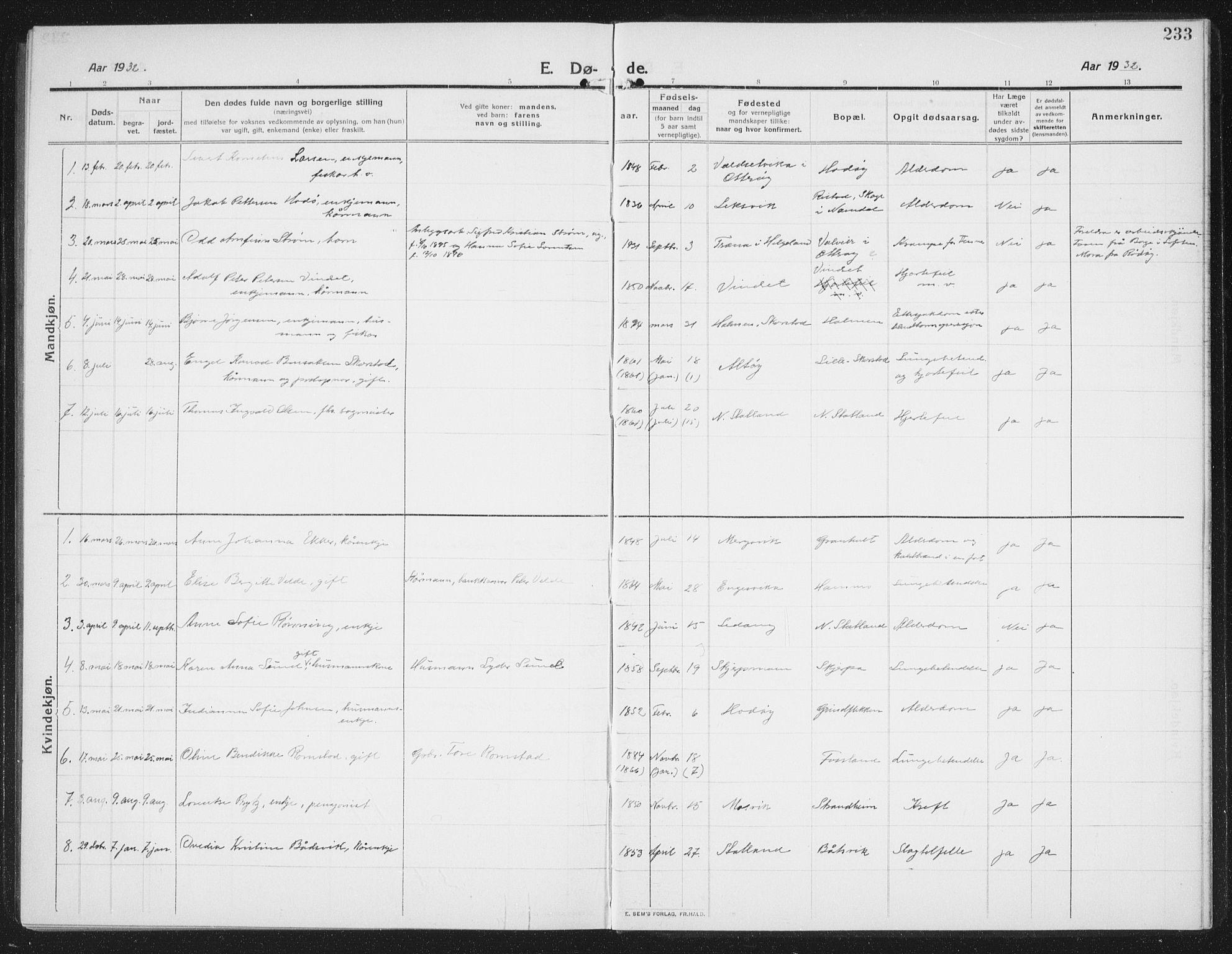 SAT, Ministerialprotokoller, klokkerbøker og fødselsregistre - Nord-Trøndelag, 774/L0630: Klokkerbok nr. 774C01, 1910-1934, s. 233