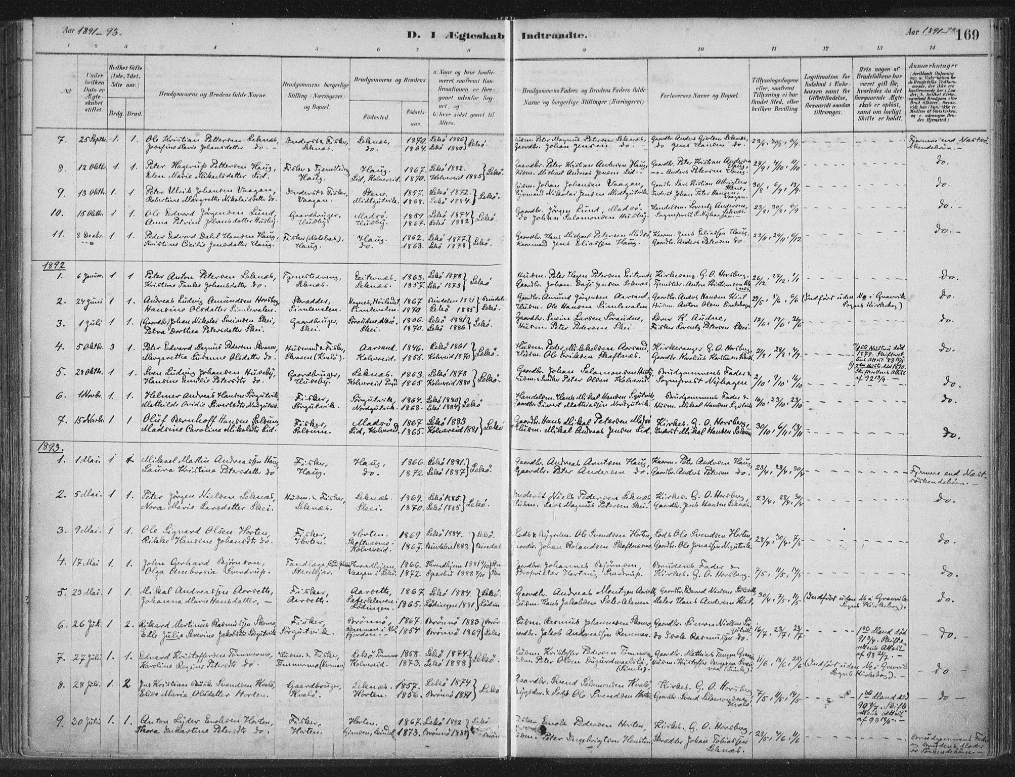 SAT, Ministerialprotokoller, klokkerbøker og fødselsregistre - Nord-Trøndelag, 788/L0697: Ministerialbok nr. 788A04, 1878-1902, s. 169