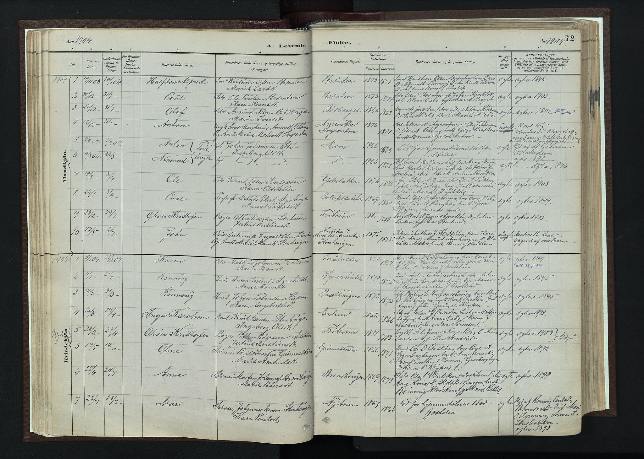 SAH, Nord-Fron prestekontor, Ministerialbok nr. 4, 1884-1914, s. 72