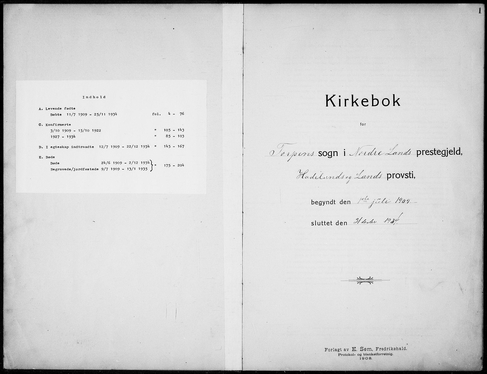 SAH, Nordre Land prestekontor, Klokkerbok nr. 2, 1909-1934, s. 1