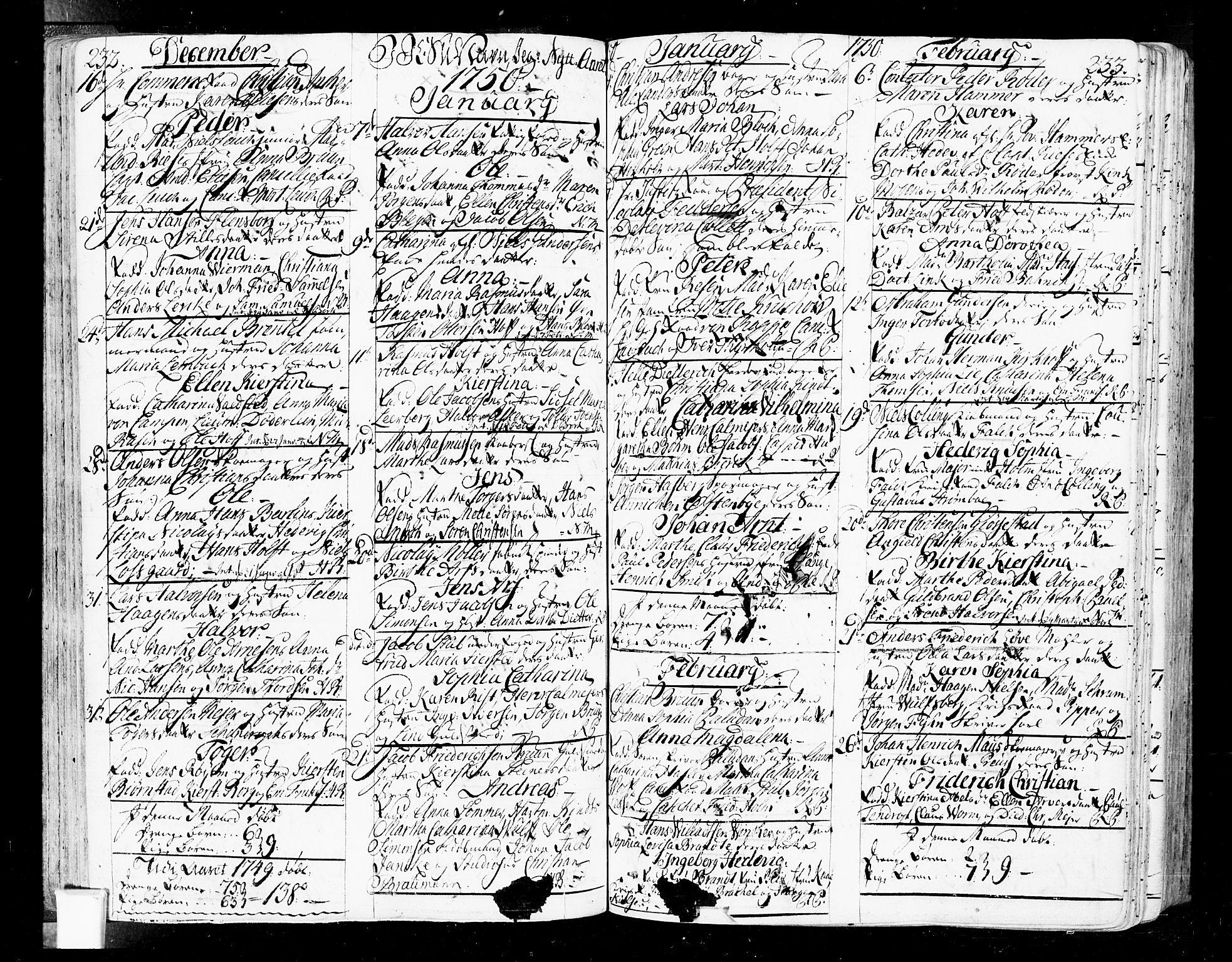 SAO, Oslo domkirke Kirkebøker, F/Fa/L0004: Ministerialbok nr. 4, 1743-1786, s. 232-233