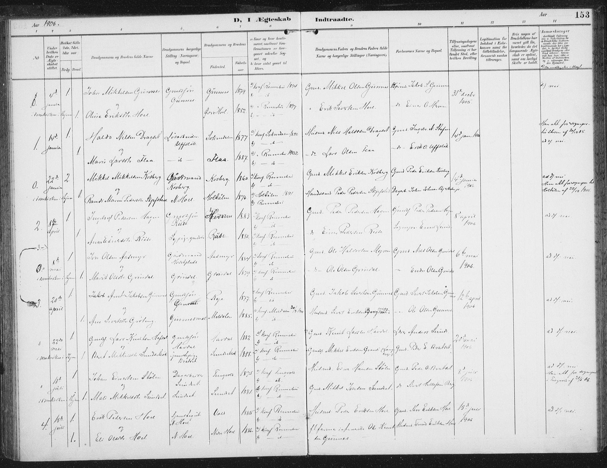 SAT, Ministerialprotokoller, klokkerbøker og fødselsregistre - Sør-Trøndelag, 674/L0872: Ministerialbok nr. 674A04, 1897-1907, s. 153