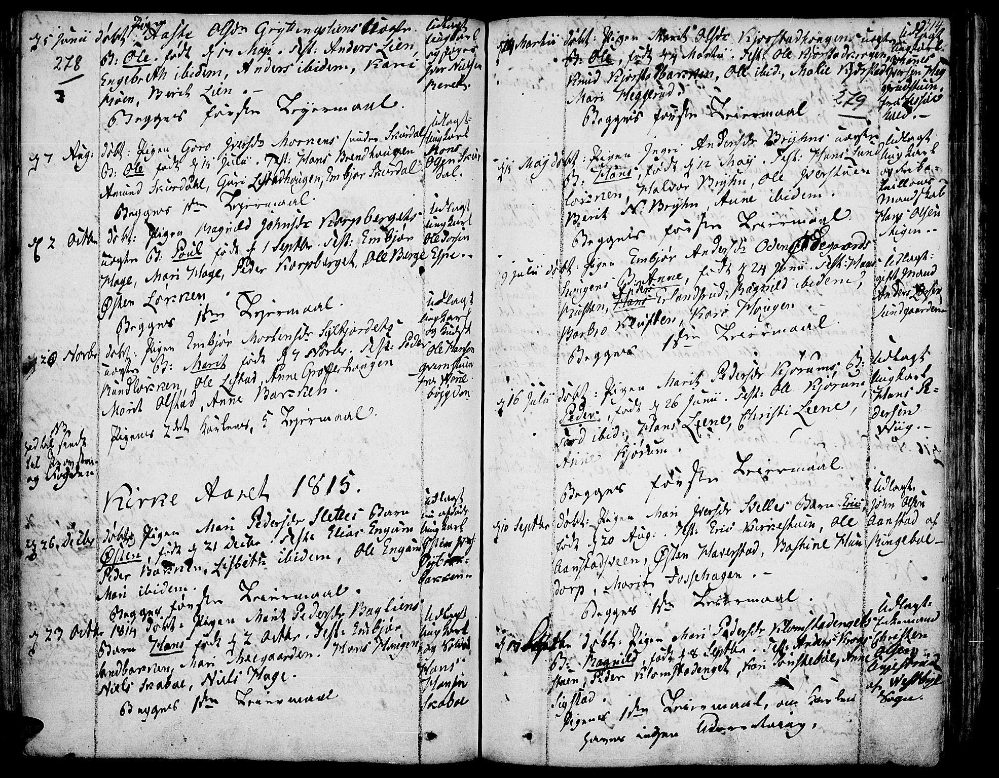 SAH, Fron prestekontor, H/Ha/Haa/L0001: Ministerialbok nr. 1, 1799-1816, s. 278-279