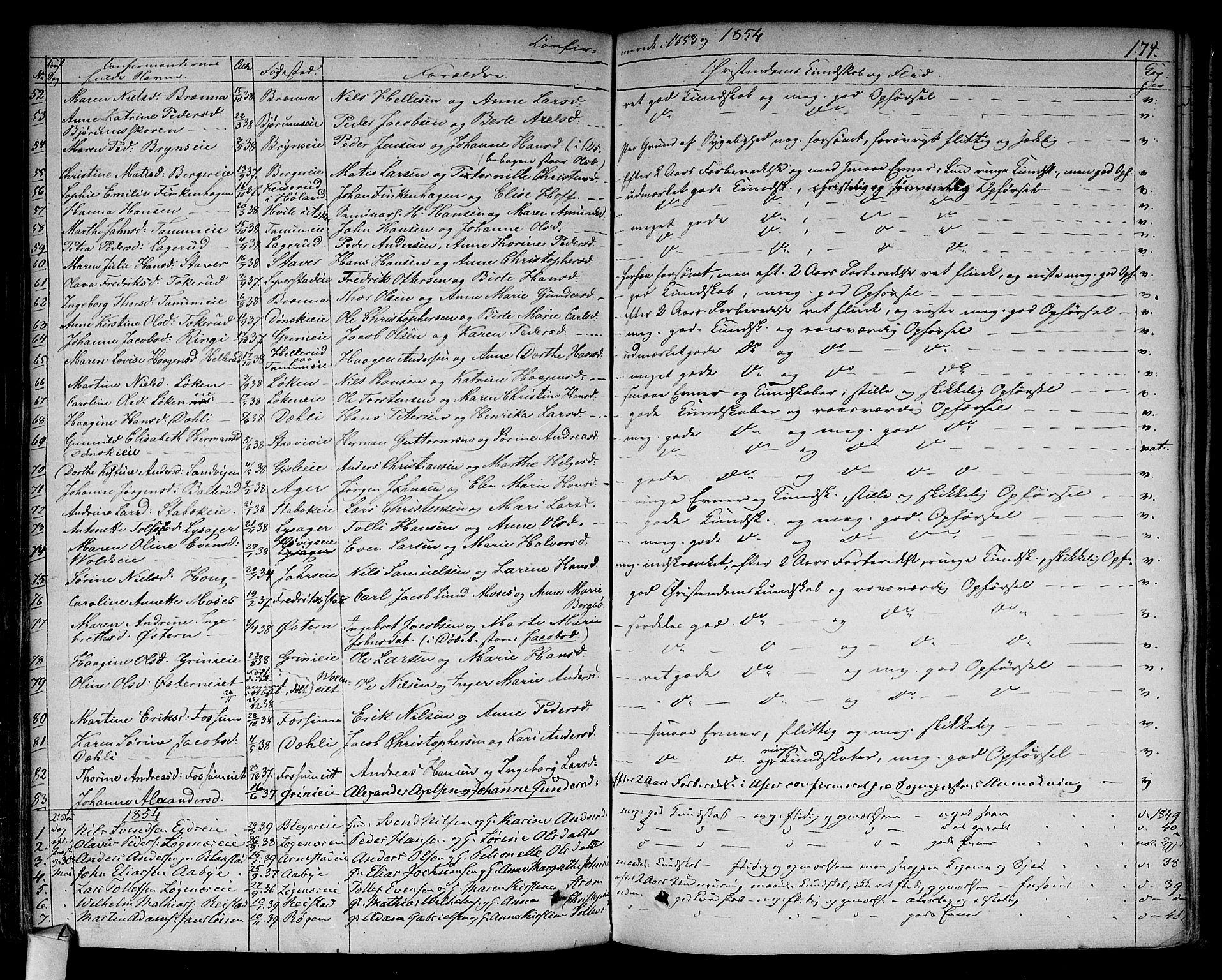 SAO, Asker prestekontor Kirkebøker, F/Fa/L0009: Ministerialbok nr. I 9, 1825-1878, s. 174
