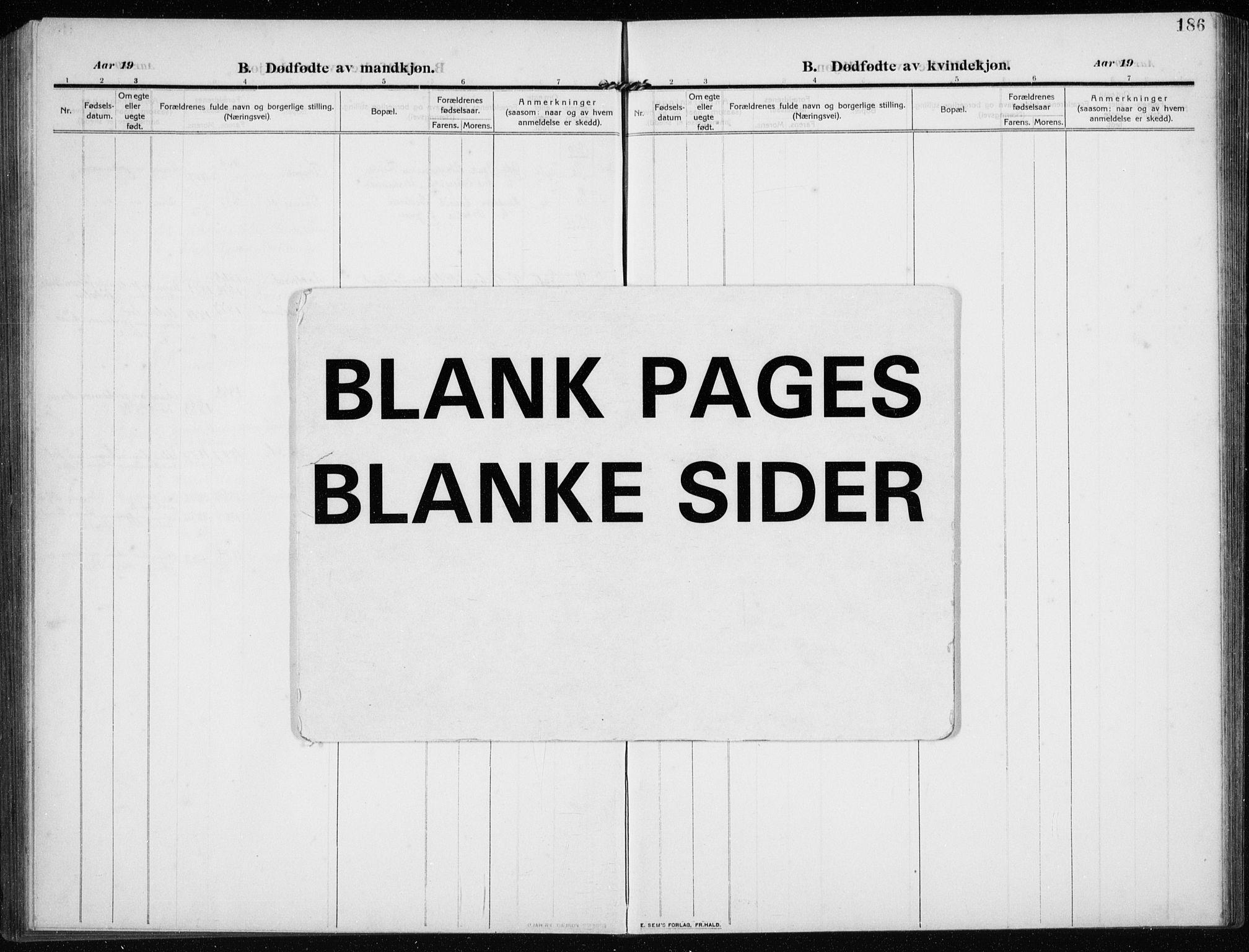 SAST, Time sokneprestkontor, 30BB/L0001: Klokkerbok nr. B 1, 1910-1932, s. 186