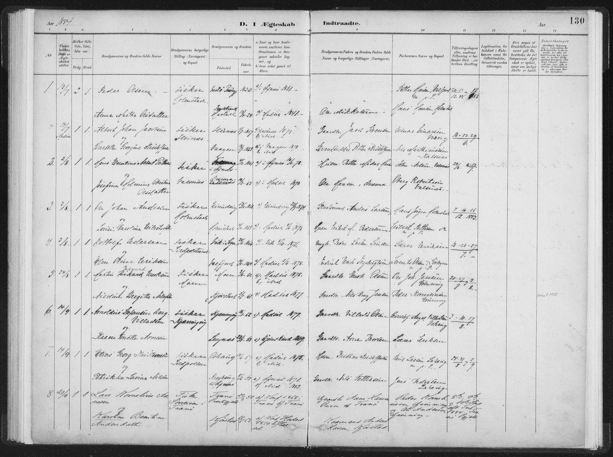 SAT, Ministerialprotokoller, klokkerbøker og fødselsregistre - Nordland, 890/L1286: Ministerialbok nr. 890A01, 1882-1902, s. 130