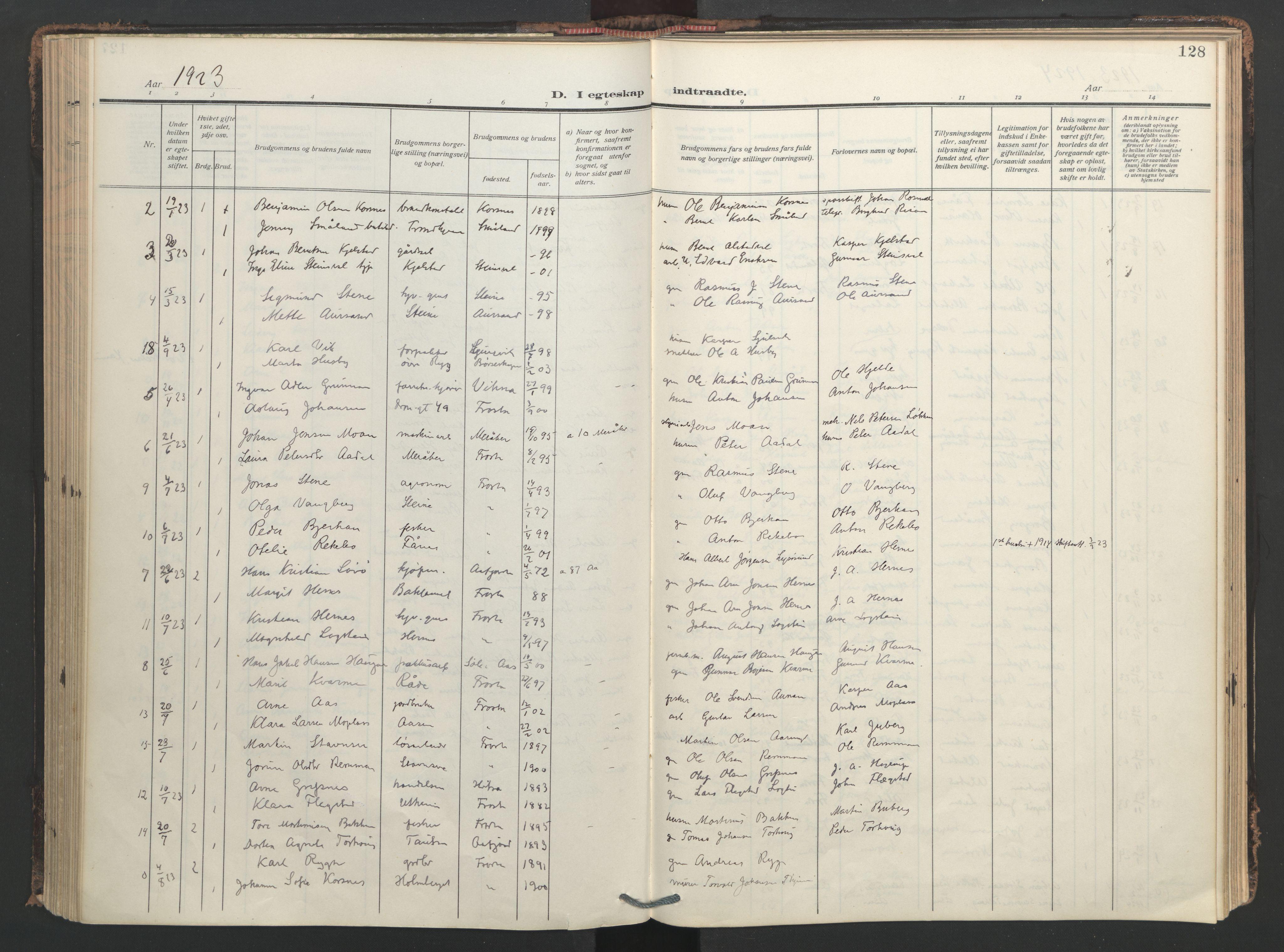 SAT, Ministerialprotokoller, klokkerbøker og fødselsregistre - Nord-Trøndelag, 713/L0123: Ministerialbok nr. 713A12, 1911-1925, s. 128