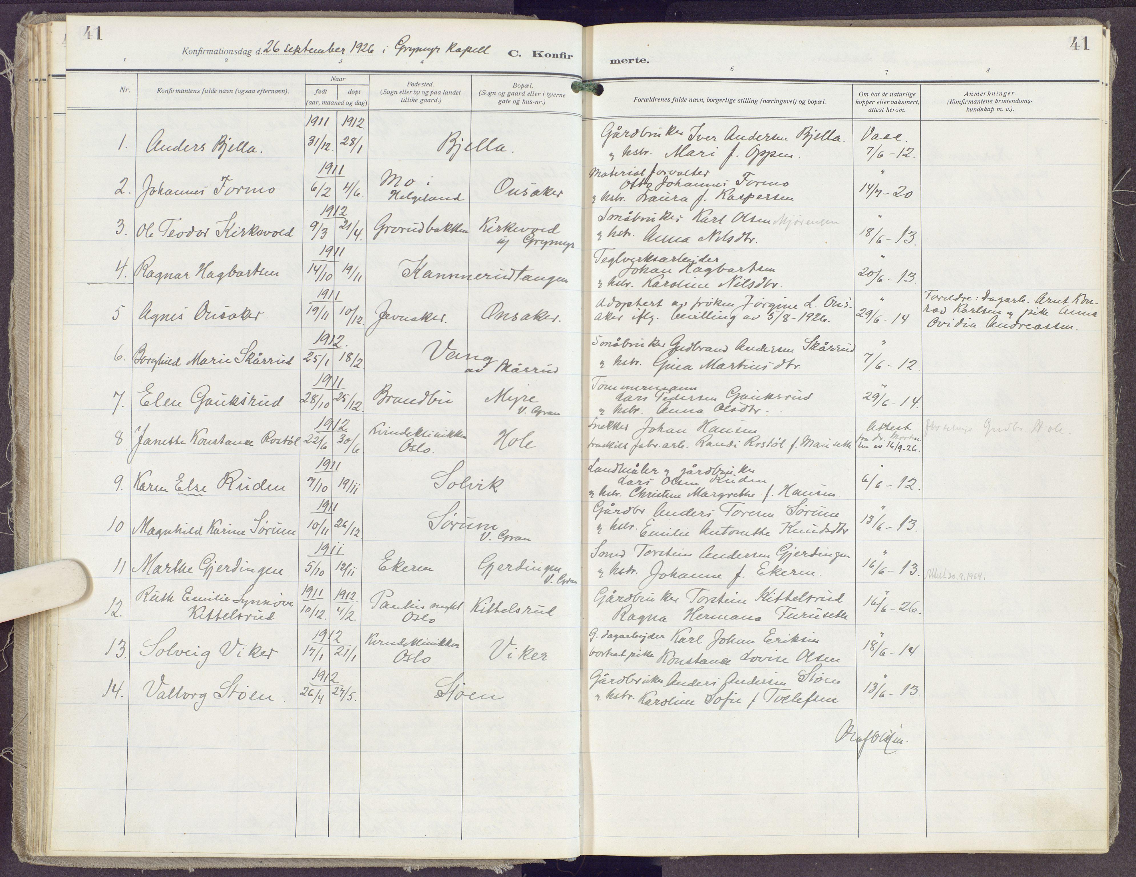 SAH, Gran prestekontor, Ministerialbok nr. 23, 1919-1938, s. 41