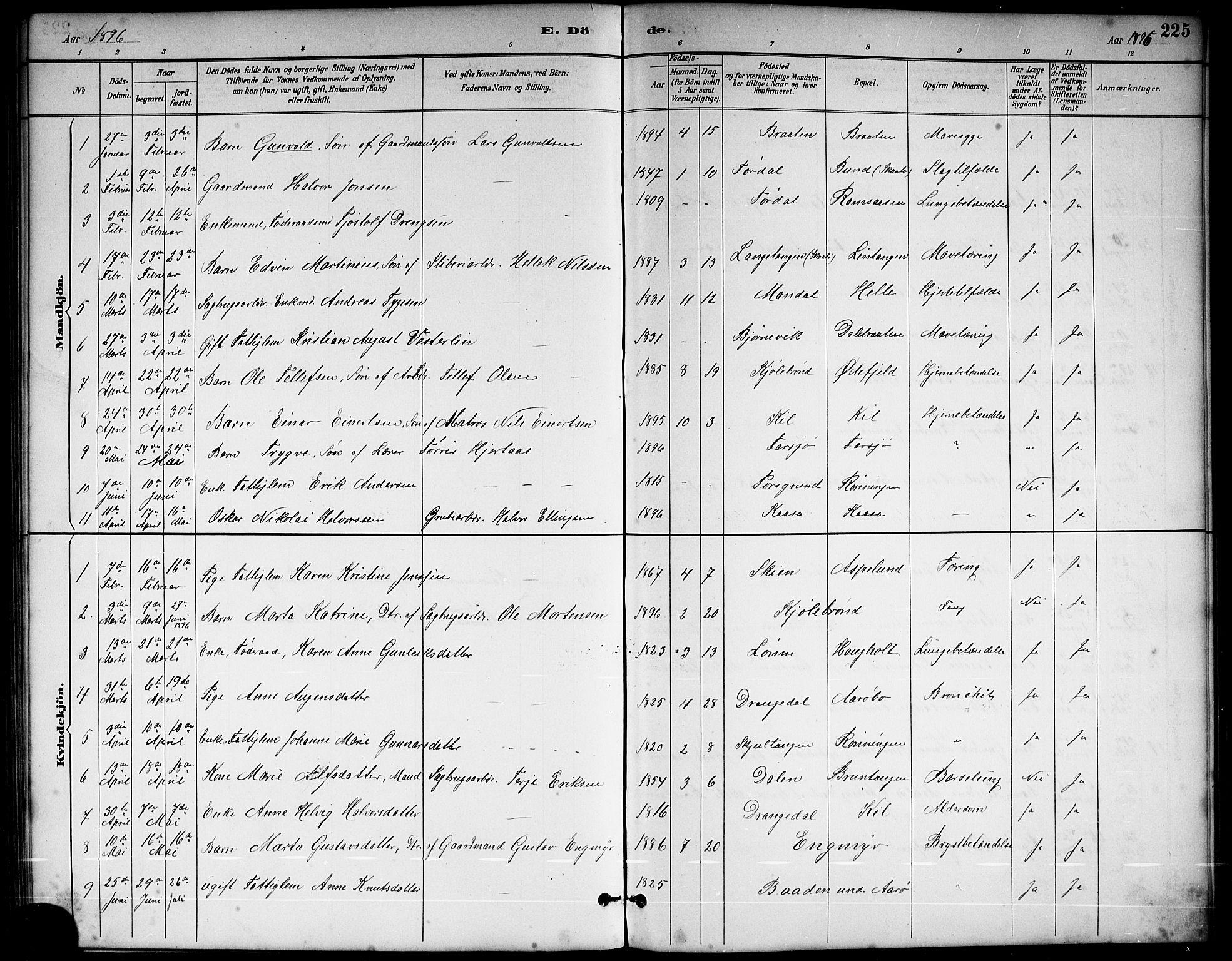 SAKO, Sannidal kirkebøker, G/Ga/L0003: Klokkerbok nr. 3, 1887-1922, s. 225