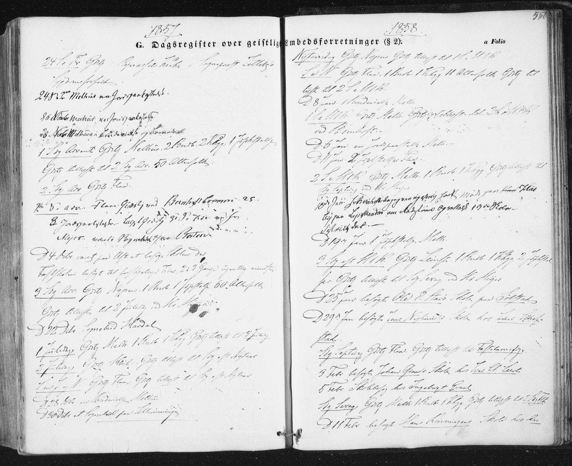 SAT, Ministerialprotokoller, klokkerbøker og fødselsregistre - Sør-Trøndelag, 691/L1076: Ministerialbok nr. 691A08, 1852-1861, s. 550