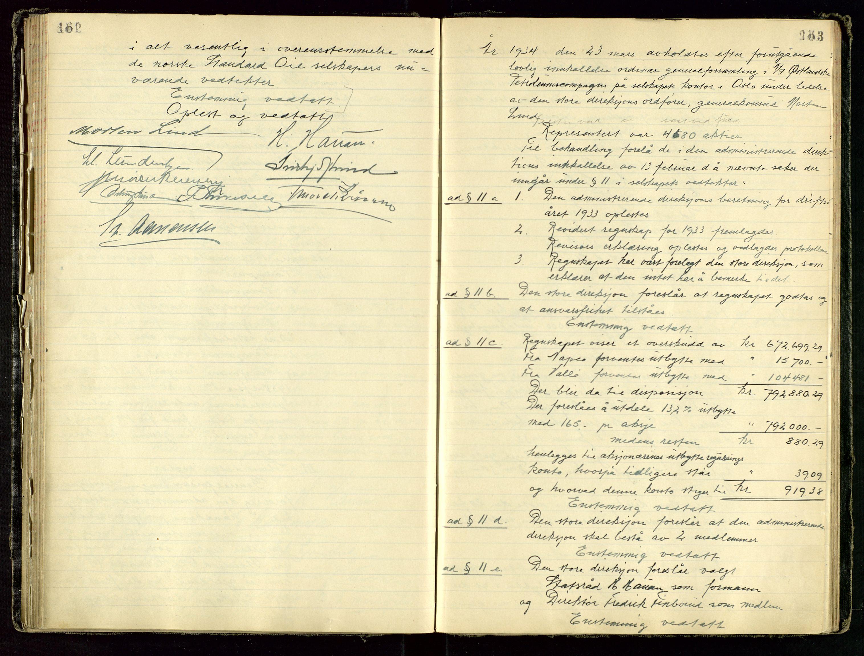 SAST, PA 1534 - Østlandske Petroleumscompagni A/S, A/Aa/L0001: Generalforsamlinger og direksjonsprotokoller., 1892-1960, s. 162-163