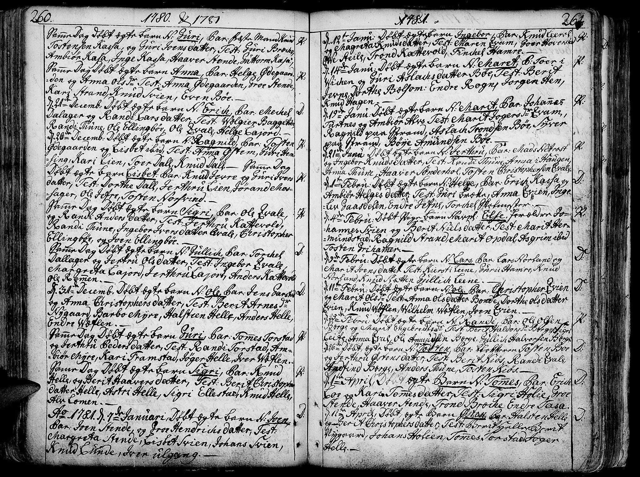 SAH, Vang prestekontor, Valdres, Ministerialbok nr. 1, 1730-1796, s. 260-261